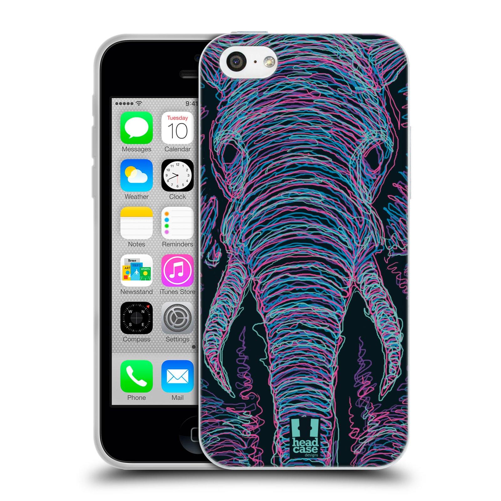 HEAD CASE silikonový obal na mobil Apple Iphone 5C vzor zvíře čmáranice slon