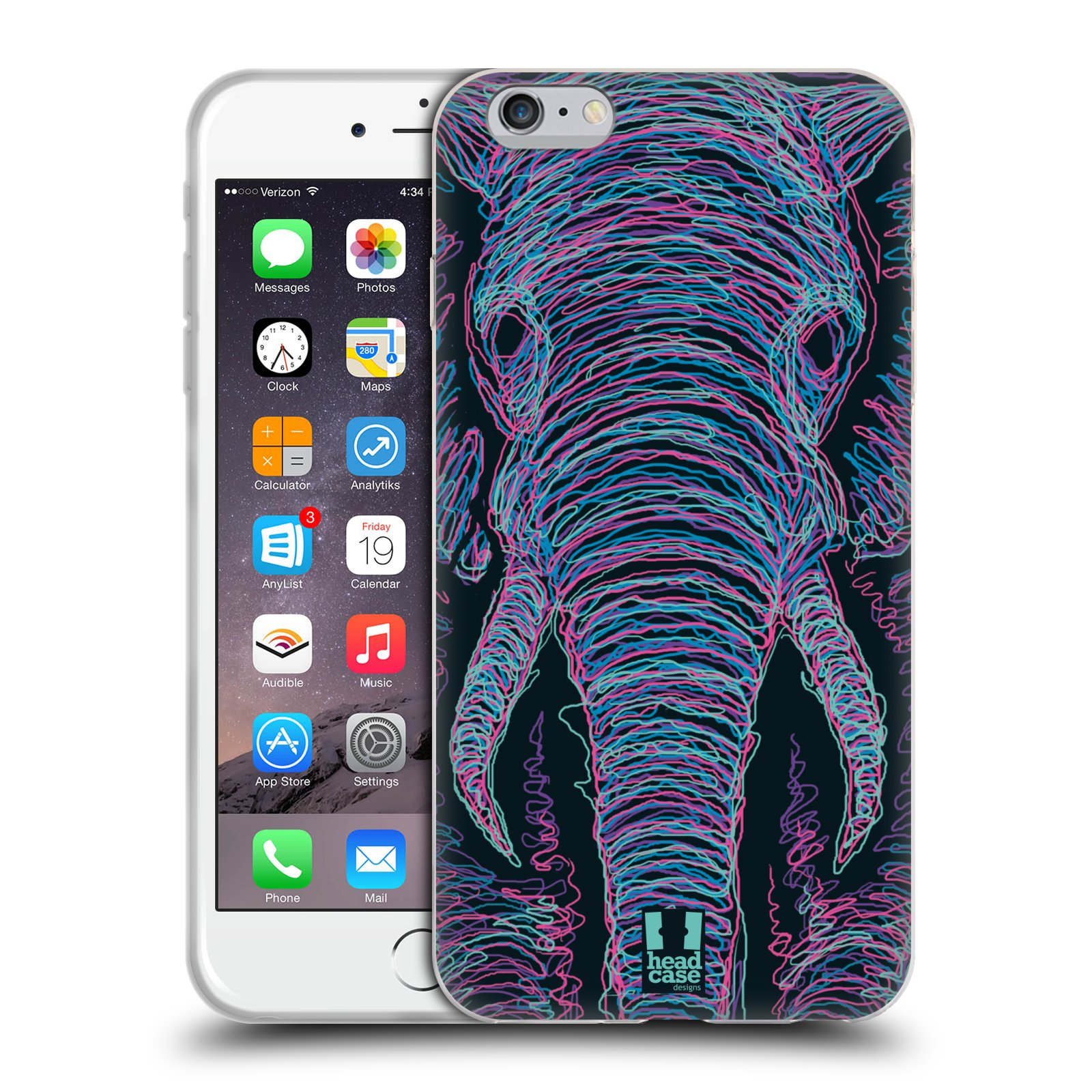HEAD CASE silikonový obal na mobil Apple Iphone 6 PLUS/ 6S PLUS vzor zvíře čmáranice slon
