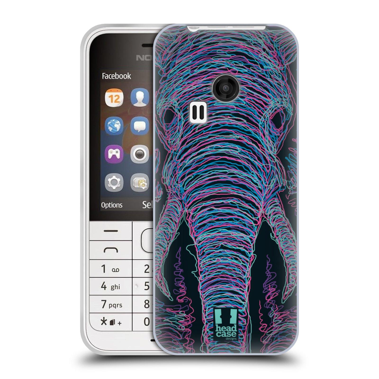 HEAD CASE silikonový obal na mobil NOKIA 220 / NOKIA 220 DUAL SIM vzor zvíře čmáranice slon