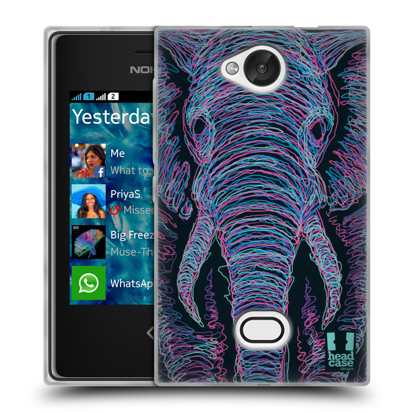HEAD CASE silikonový obal na mobil NOKIA Asha 503 vzor zvíře čmáranice slon