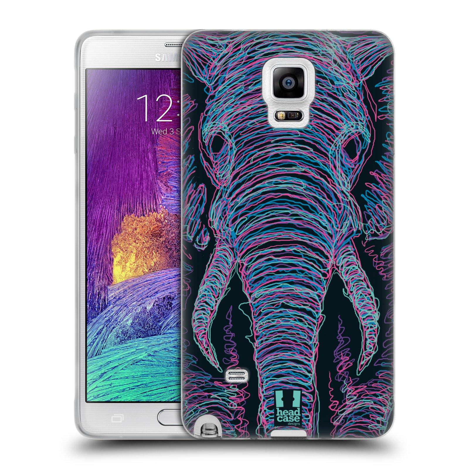 HEAD CASE silikonový obal na mobil Samsung Galaxy Note 4 (N910) vzor zvíře čmáranice slon