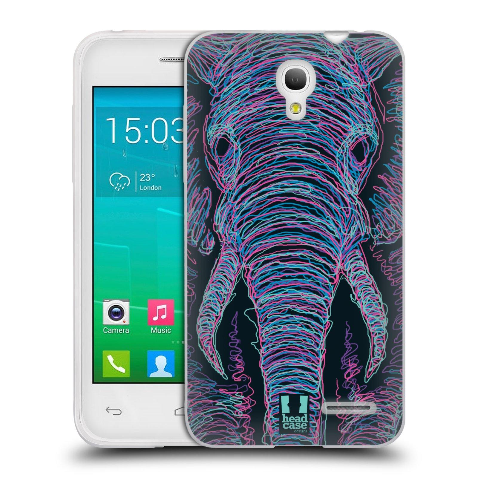 HEAD CASE silikonový obal na mobil Alcatel POP S3 OT-5050Y vzor zvíře čmáranice slon