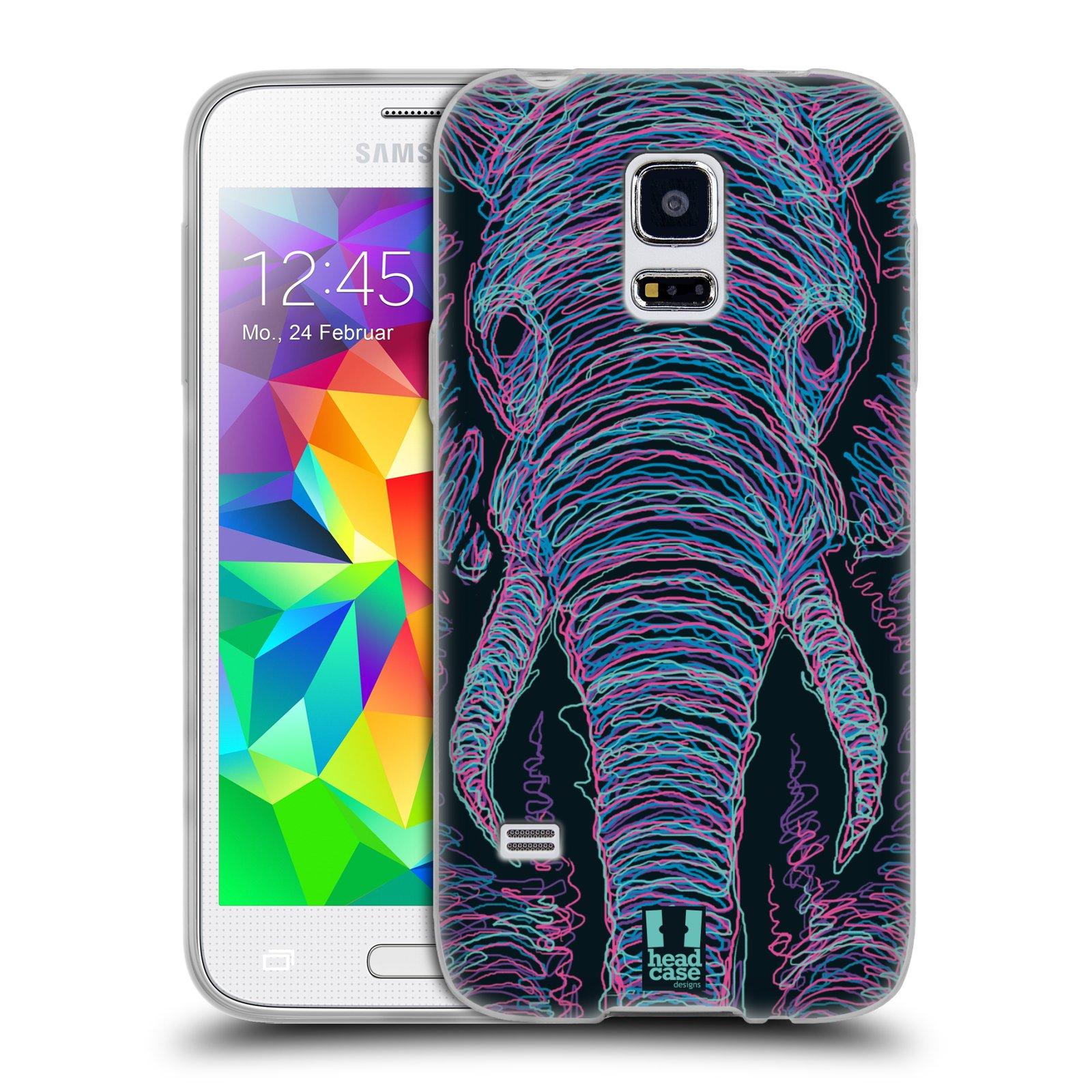 HEAD CASE silikonový obal na mobil Samsung Galaxy S5 MINI vzor zvíře čmáranice slon