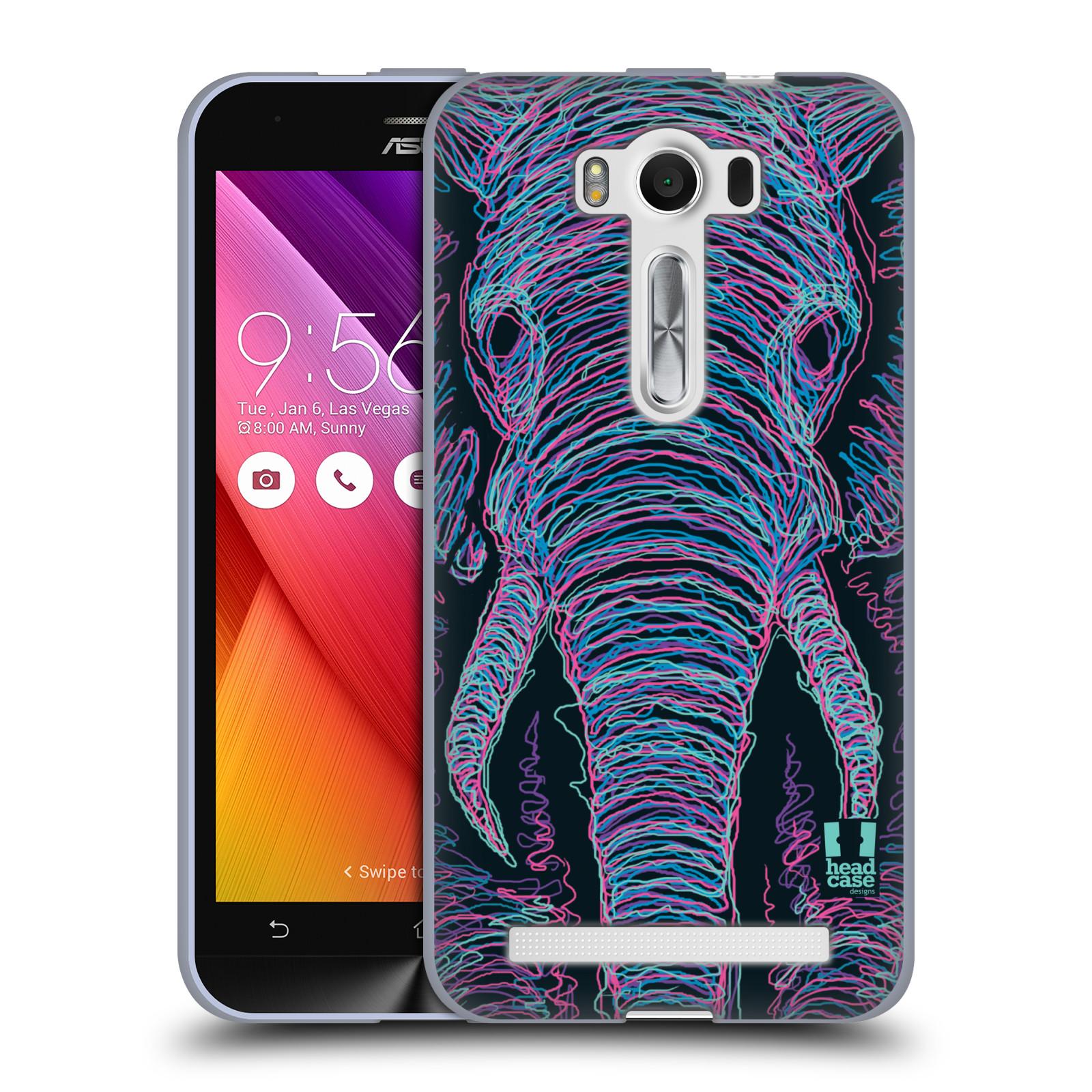 "HEAD CASE silikonový obal na mobil Asus Zenfone 2 LASER (ZE500KL s 5"" displejem) vzor zvíře čmáranice slon"