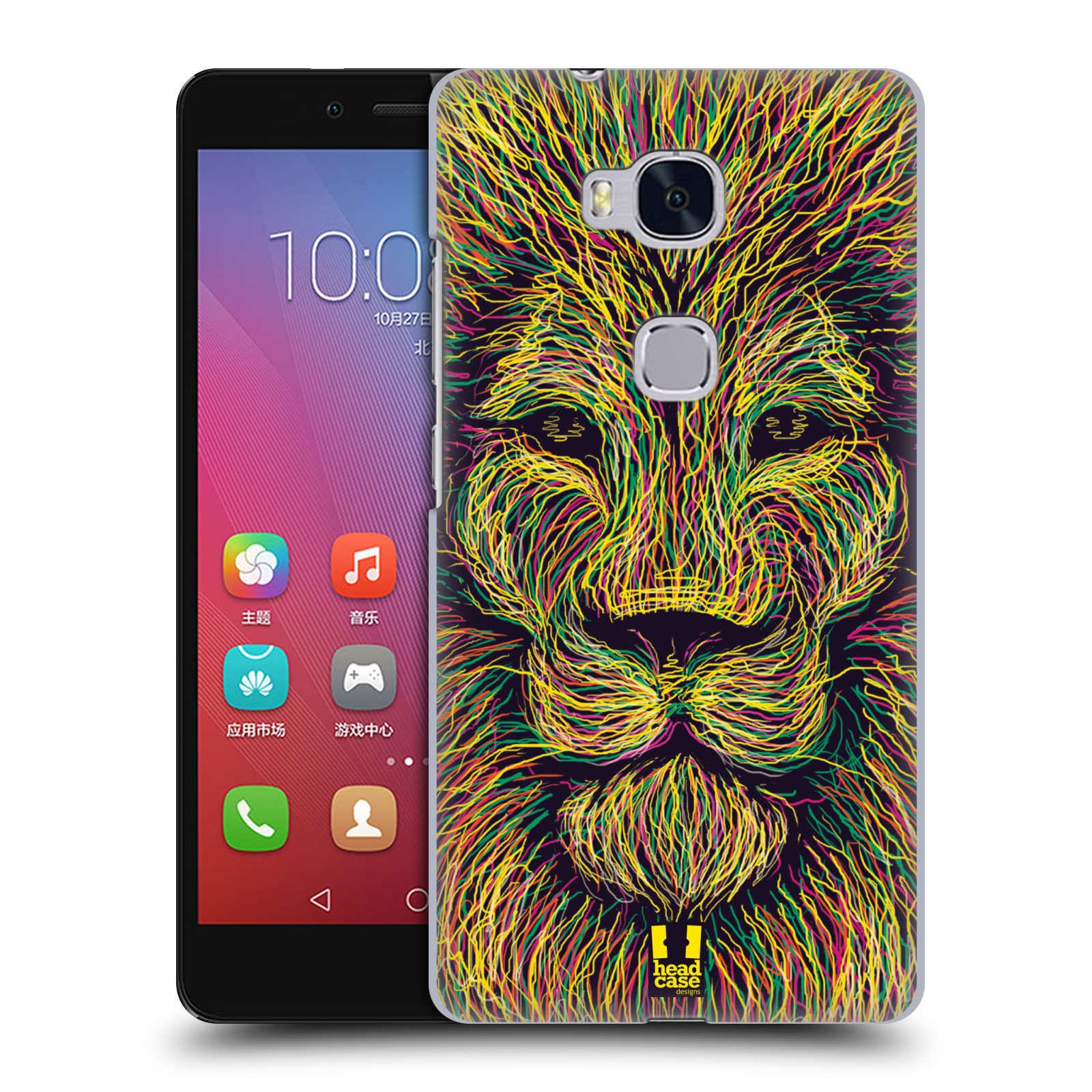 HEAD CASE pevný plastový obal na mobil HUAWEI HONOR 5X vzor zvíře čmáranice lev