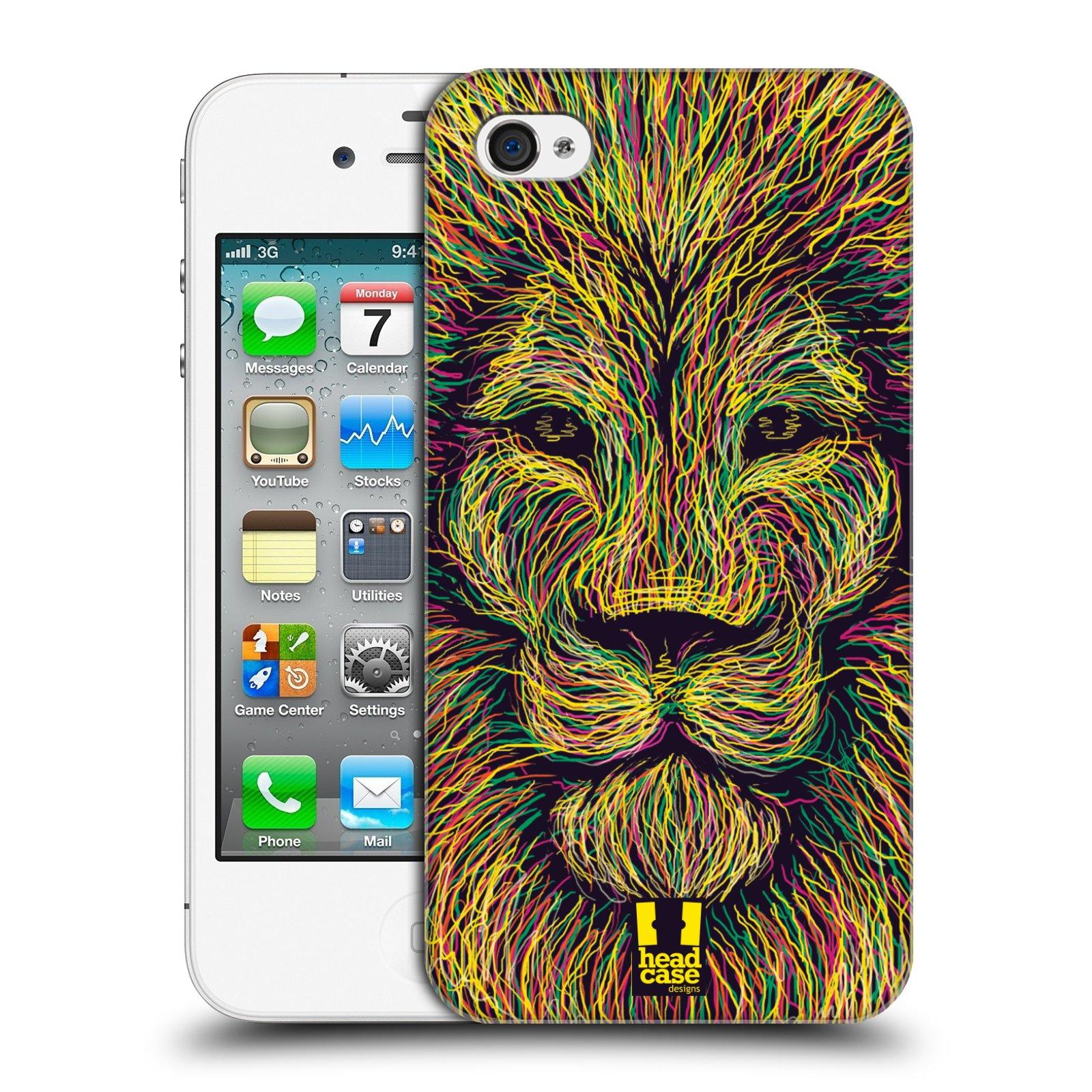HEAD CASE plastový obal na mobil Apple Iphone 4/4S vzor zvíře čmáranice lev