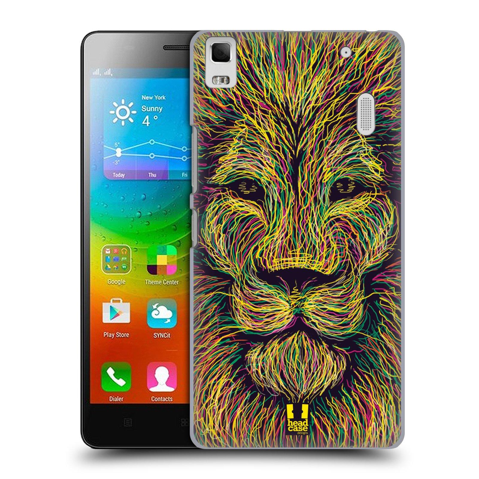 HEAD CASE pevný plastový obal na mobil LENOVO A7000 / A7000 DUAL / K3 NOTE vzor zvíře čmáranice lev