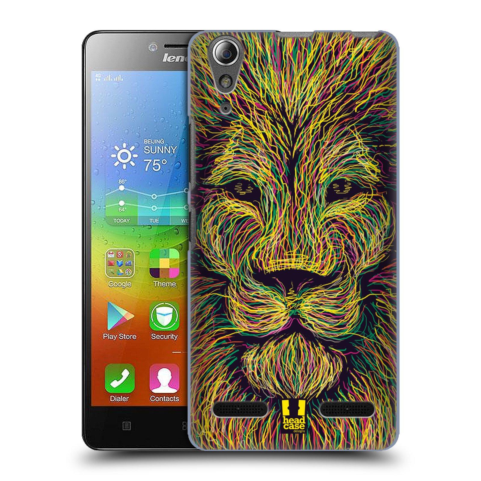 HEAD CASE pevný plastový obal na mobil LENOVO A6000 / A6000 PLUS vzor zvíře čmáranice lev