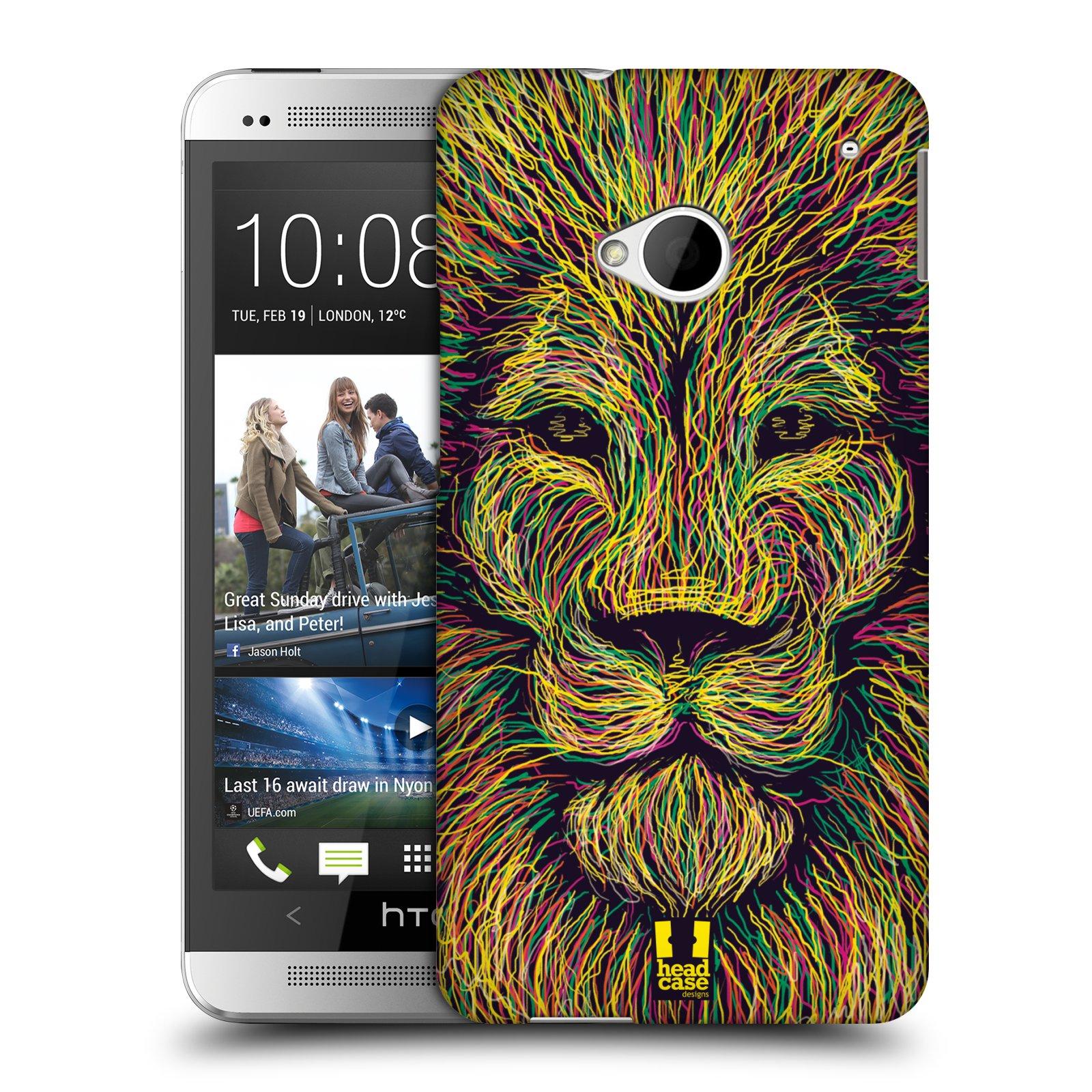 HEAD CASE plastový obal na mobil HTC One (M7) vzor zvíře čmáranice lev