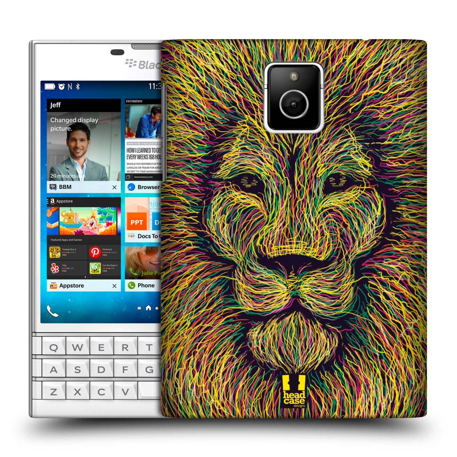 HEAD CASE plastový obal na mobil BlackBerry Passport vzor zvíře čmáranice lev
