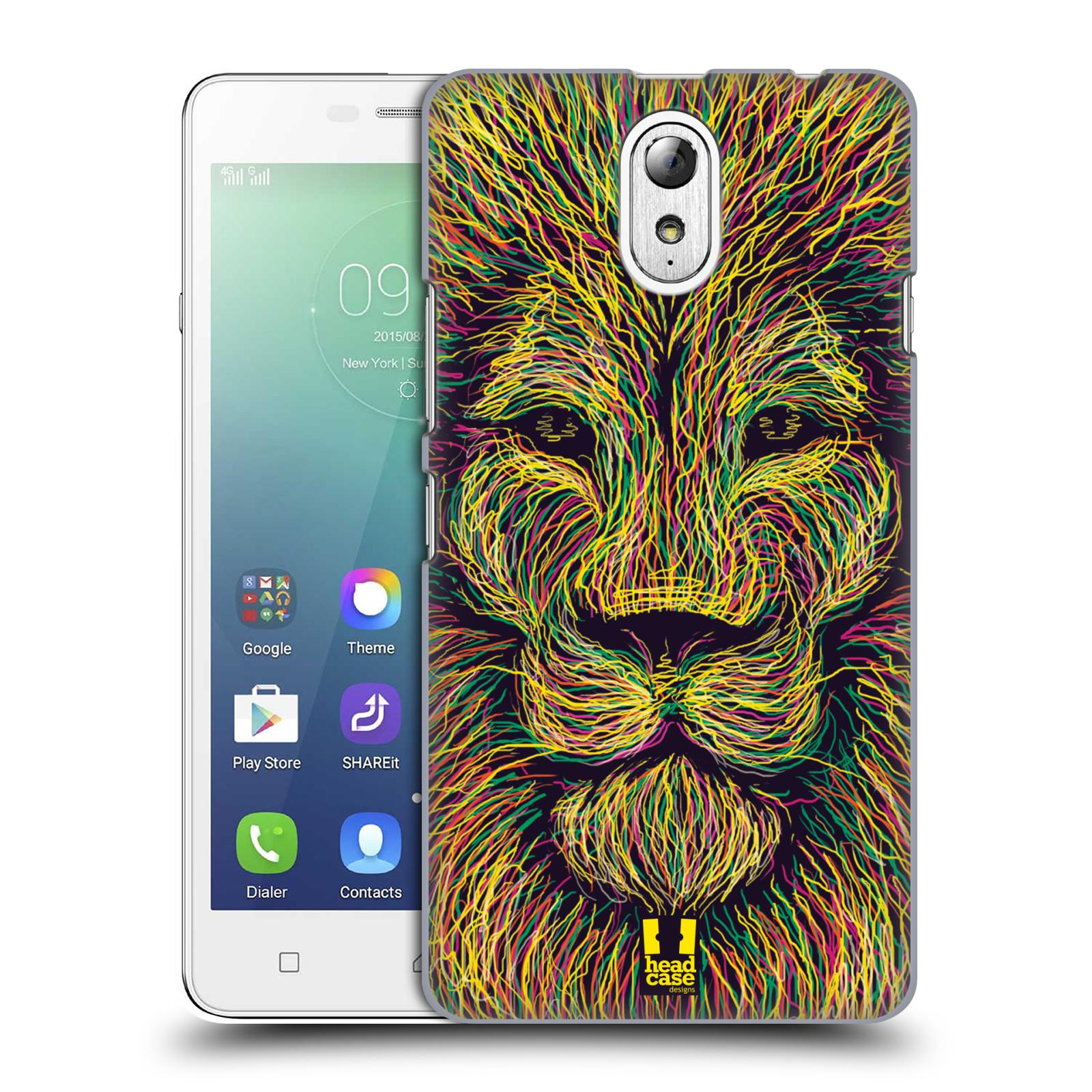 HEAD CASE pevný plastový obal na mobil LENOVO VIBE P1m / LENOVO VIBE p1m DUAL SIM vzor zvíře čmáranice lev
