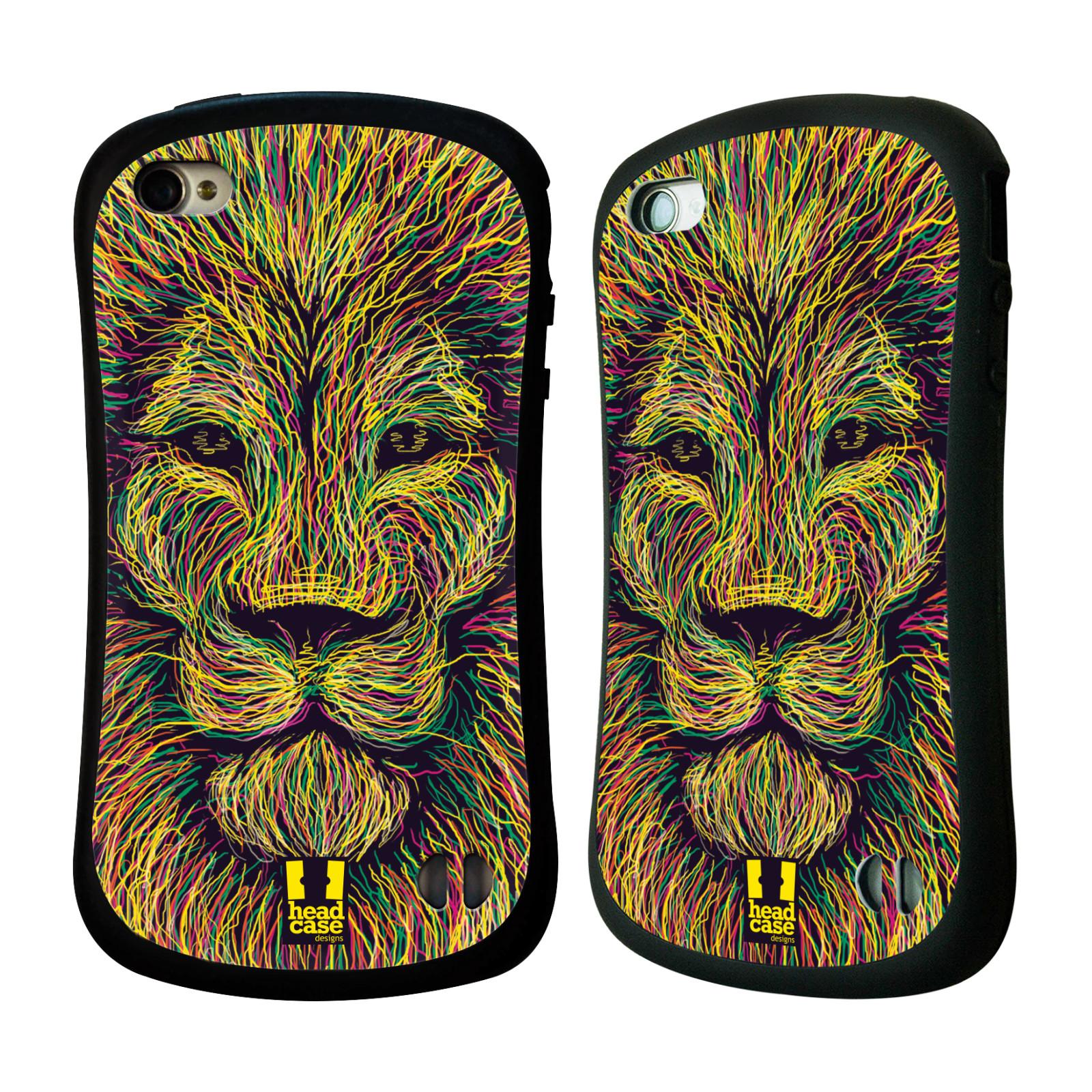 HEAD CASE silikon/plast odolný obal na mobil Apple Iphone 4/4S vzor zvíře čmáranice lev