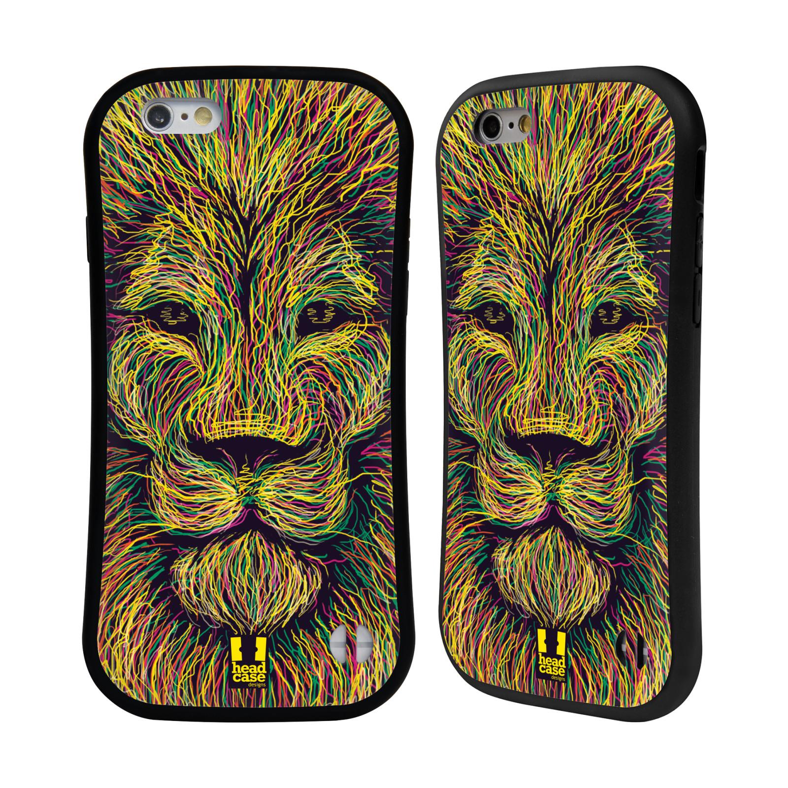 HEAD CASE silikon/plast odolný obal na mobil Apple Iphone 6/6S vzor zvíře čmáranice lev