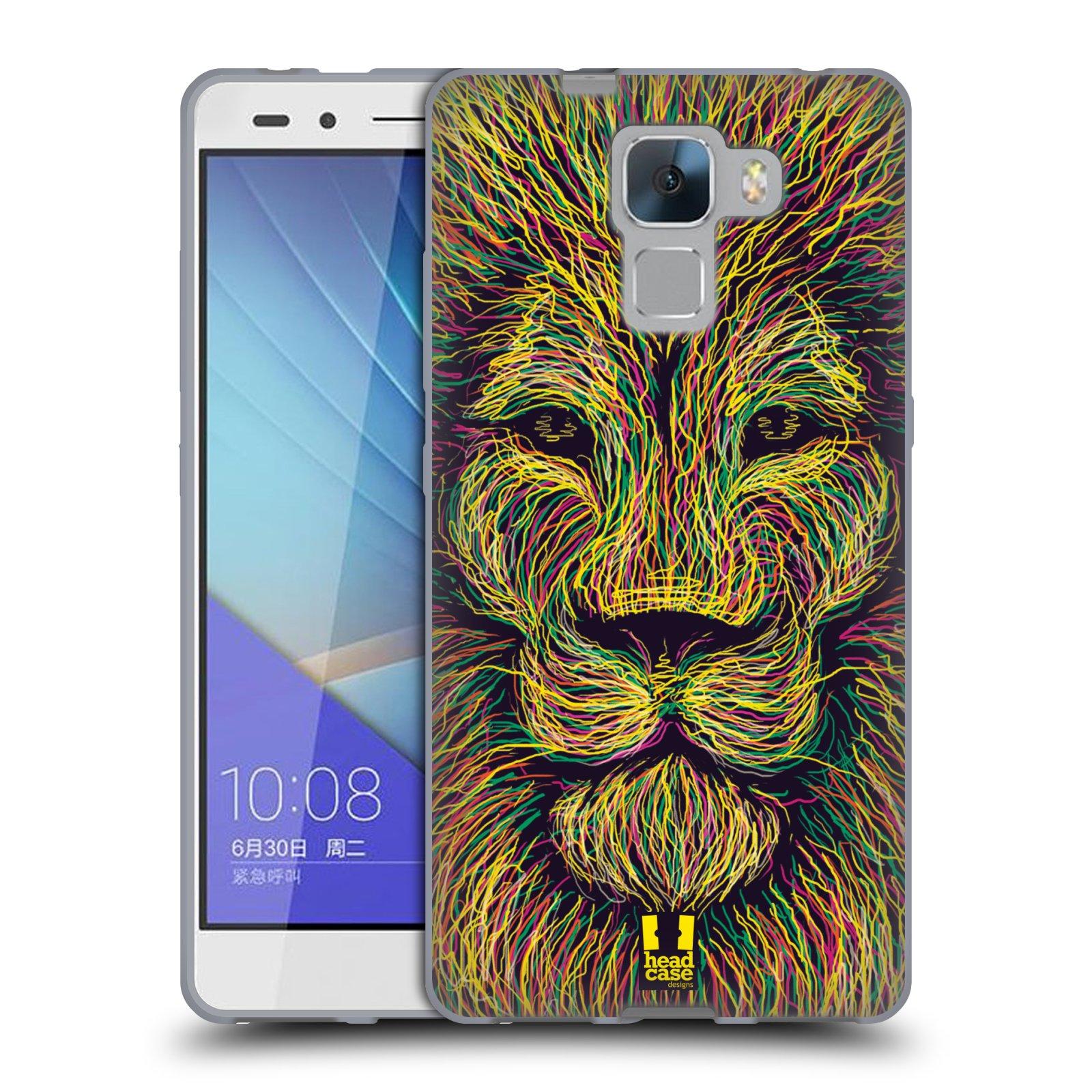 HEAD CASE silikonový obal na mobil HUAWEI HONOR 7 vzor zvíře čmáranice lev