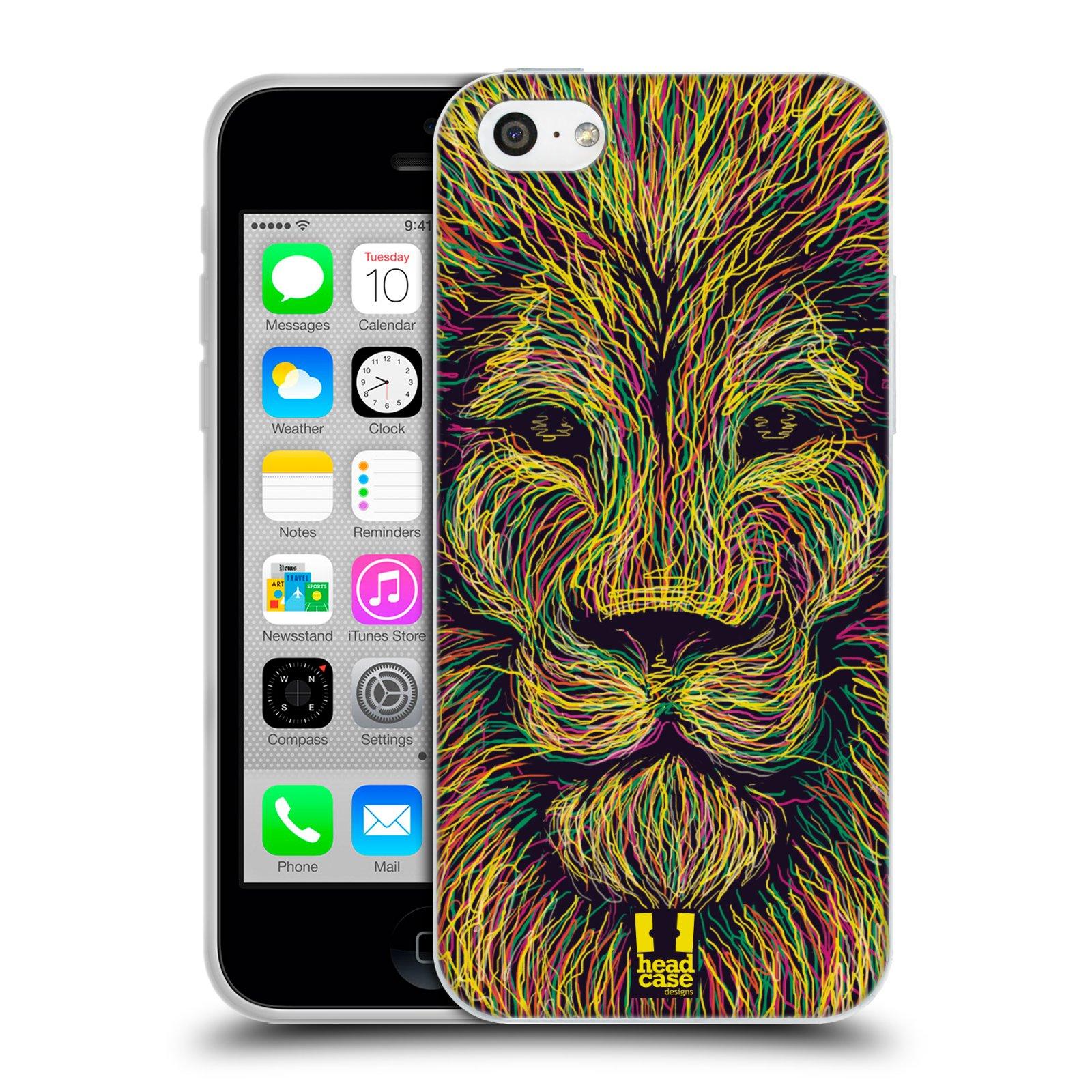 HEAD CASE silikonový obal na mobil Apple Iphone 5C vzor zvíře čmáranice lev