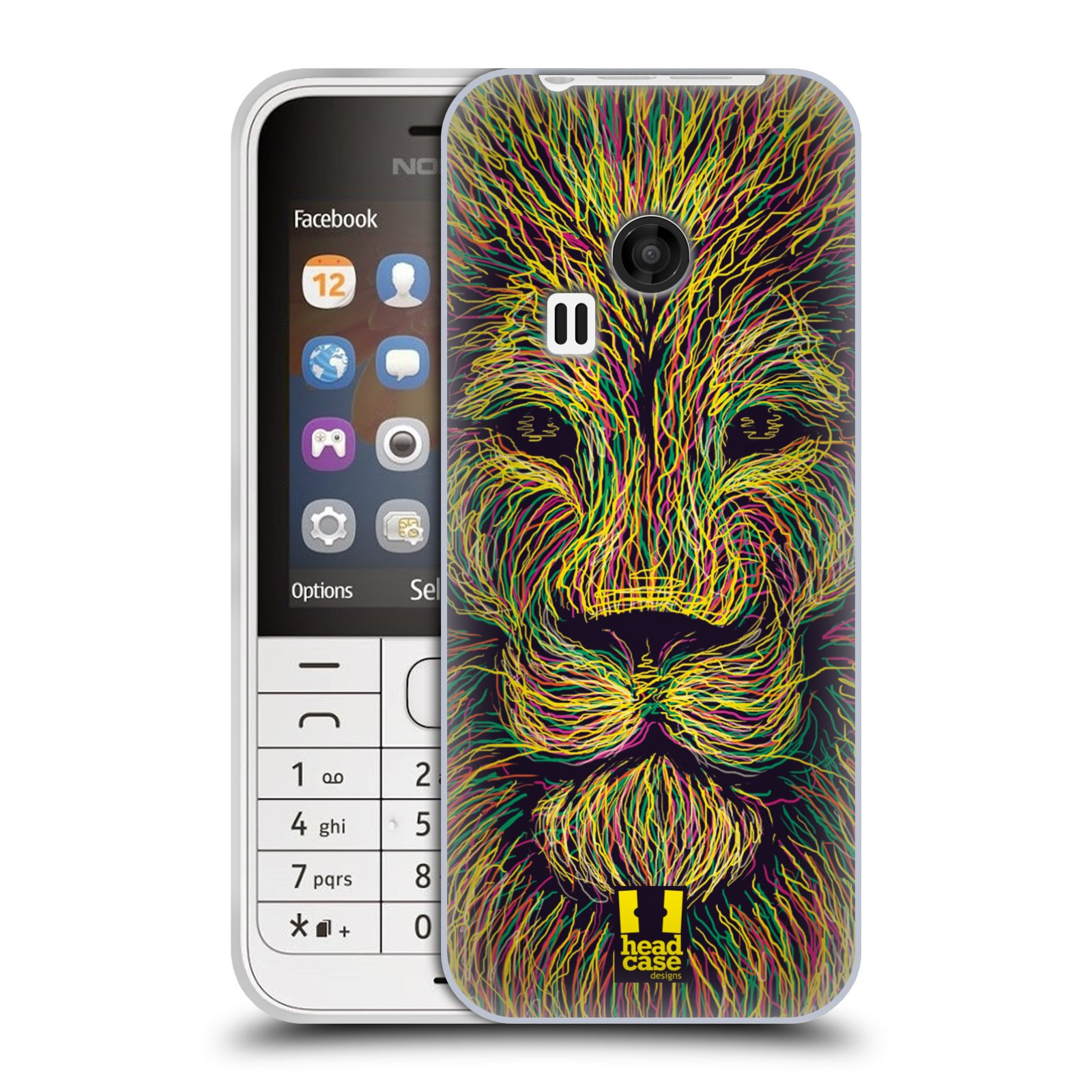 HEAD CASE silikonový obal na mobil NOKIA 220 / NOKIA 220 DUAL SIM vzor zvíře čmáranice lev