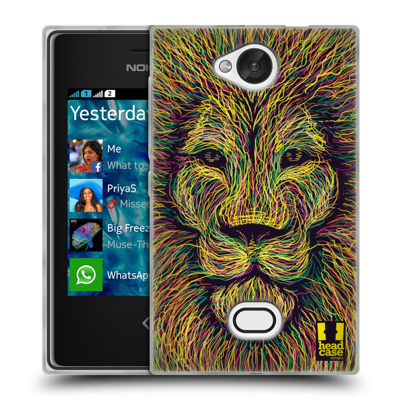 HEAD CASE silikonový obal na mobil NOKIA Asha 503 vzor zvíře čmáranice lev