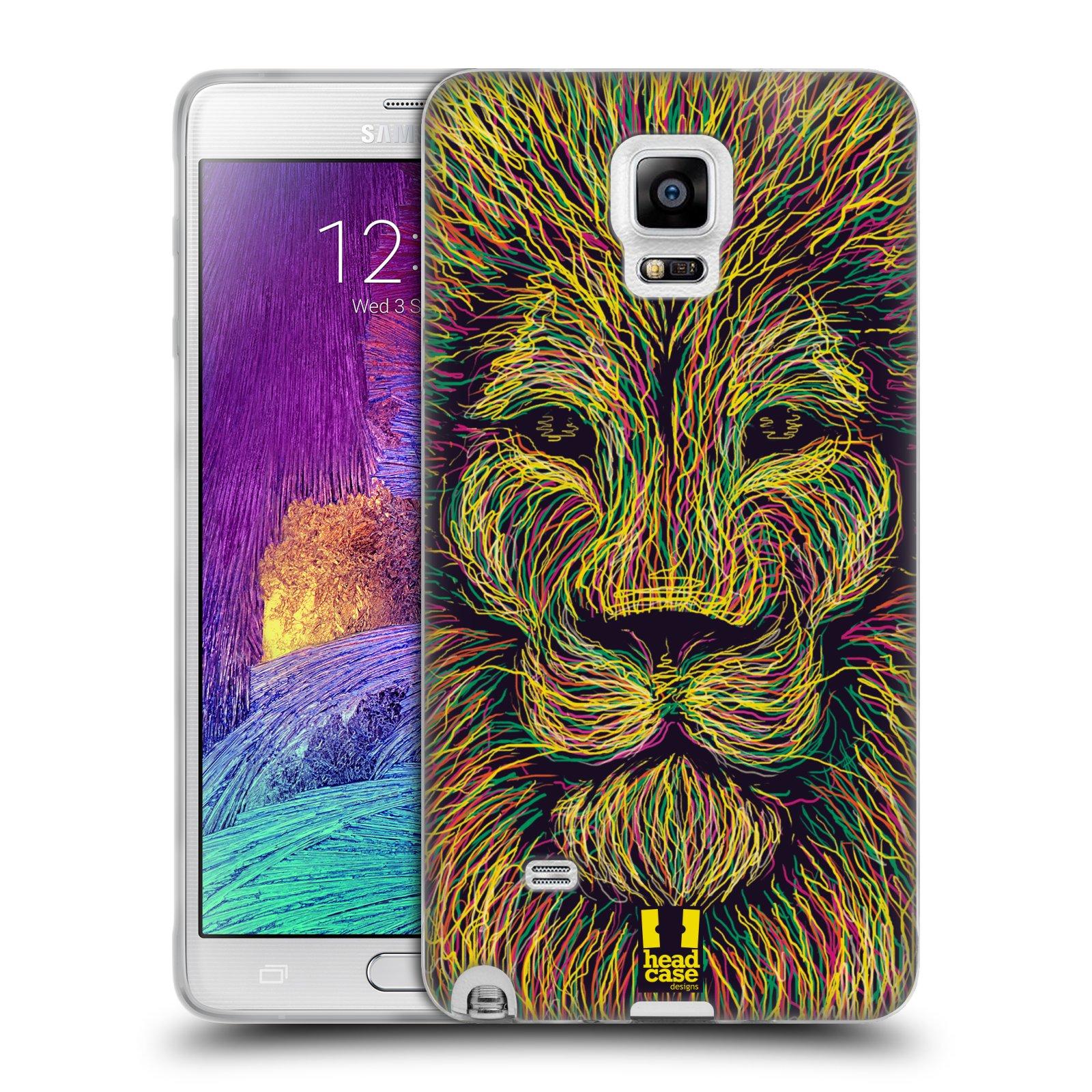 HEAD CASE silikonový obal na mobil Samsung Galaxy Note 4 (N910) vzor zvíře čmáranice lev