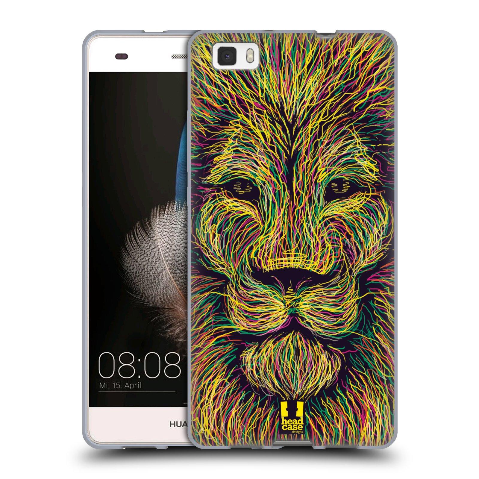 HEAD CASE silikonový obal na mobil HUAWEI P8 LITE vzor zvíře čmáranice lev