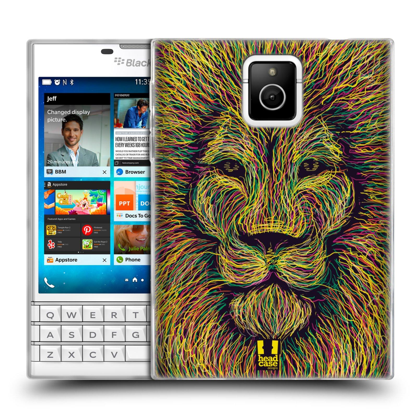 HEAD CASE silikonový obal na mobil Blackberry PASSPORT vzor zvíře čmáranice lev