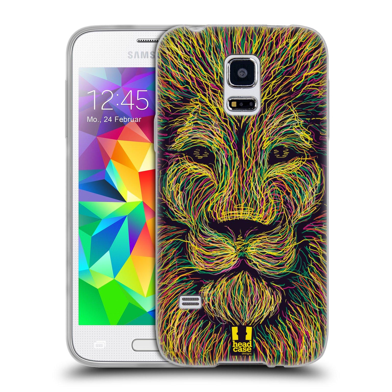 HEAD CASE silikonový obal na mobil Samsung Galaxy S5 MINI vzor zvíře čmáranice lev