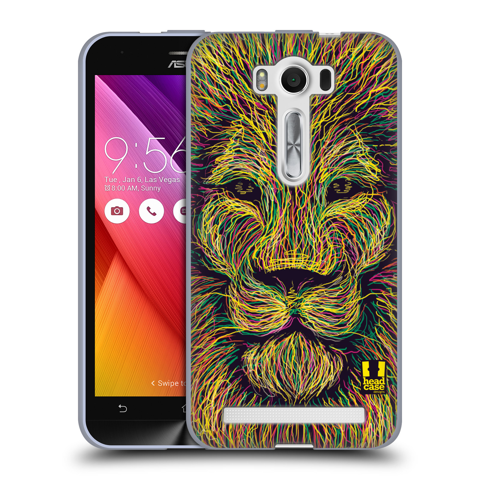 "HEAD CASE silikonový obal na mobil Asus Zenfone 2 LASER (ZE500KL s 5"" displejem) vzor zvíře čmáranice lev"