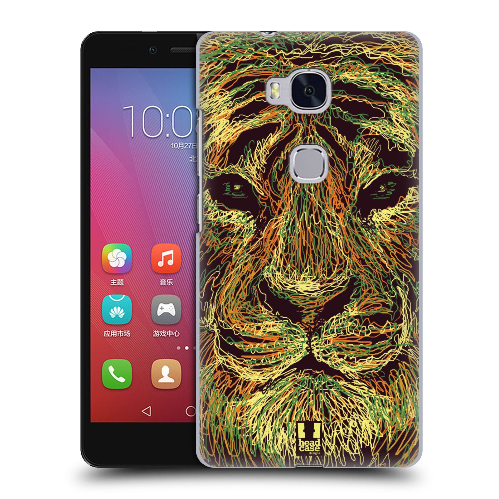 HEAD CASE pevný plastový obal na mobil HUAWEI HONOR 5X vzor zvíře čmáranice tygr