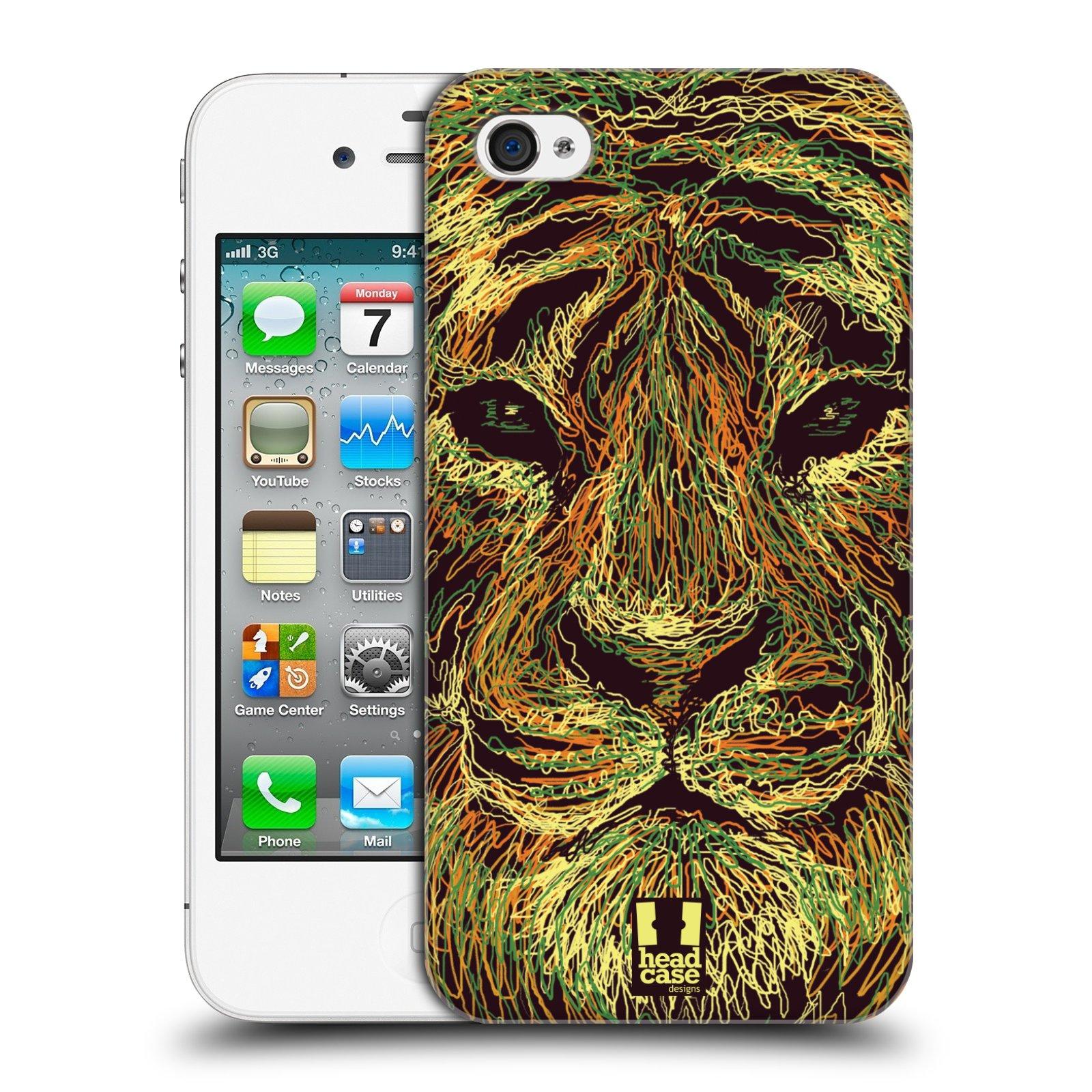 HEAD CASE plastový obal na mobil Apple Iphone 4/4S vzor zvíře čmáranice tygr