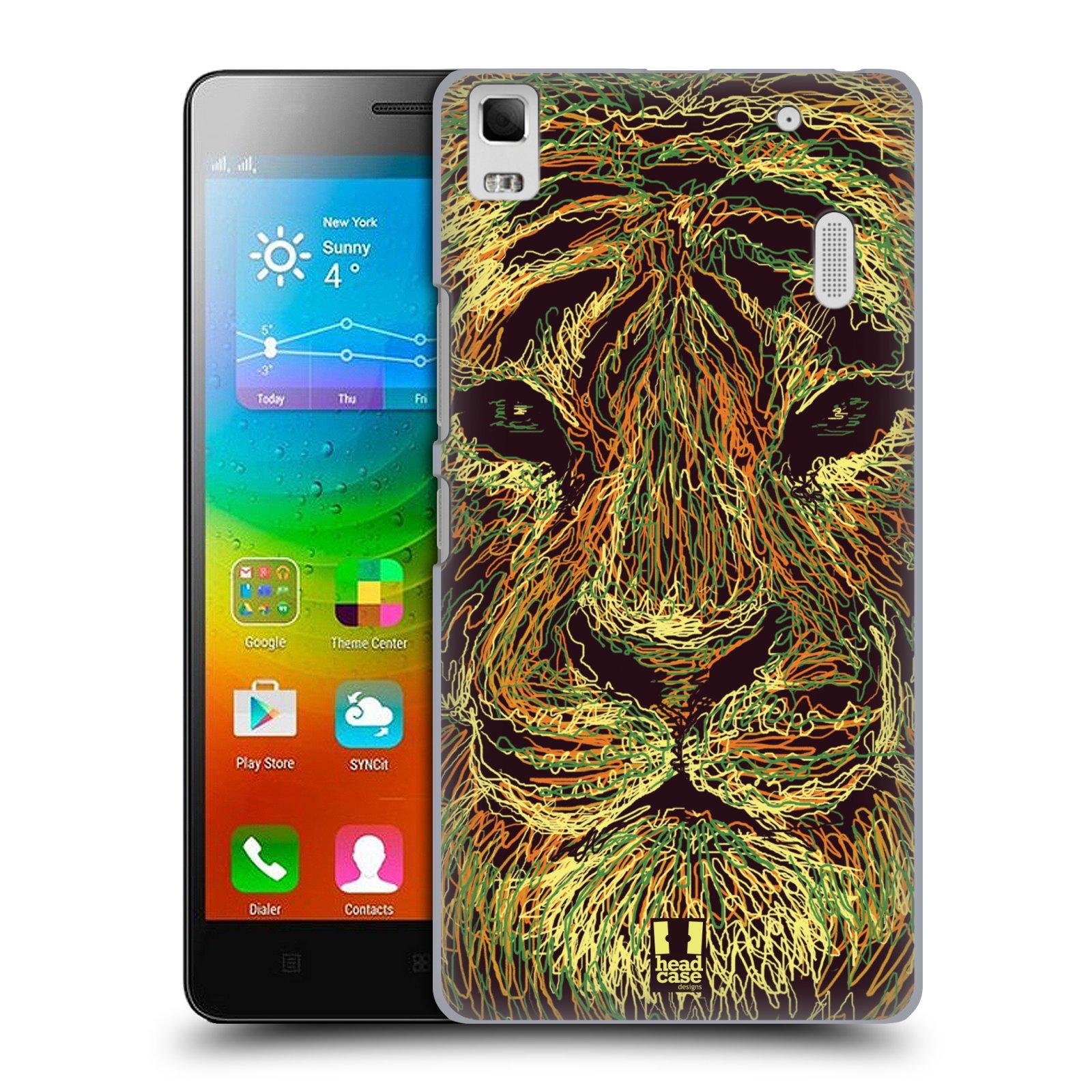 HEAD CASE pevný plastový obal na mobil LENOVO A7000 / A7000 DUAL / K3 NOTE vzor zvíře čmáranice tygr
