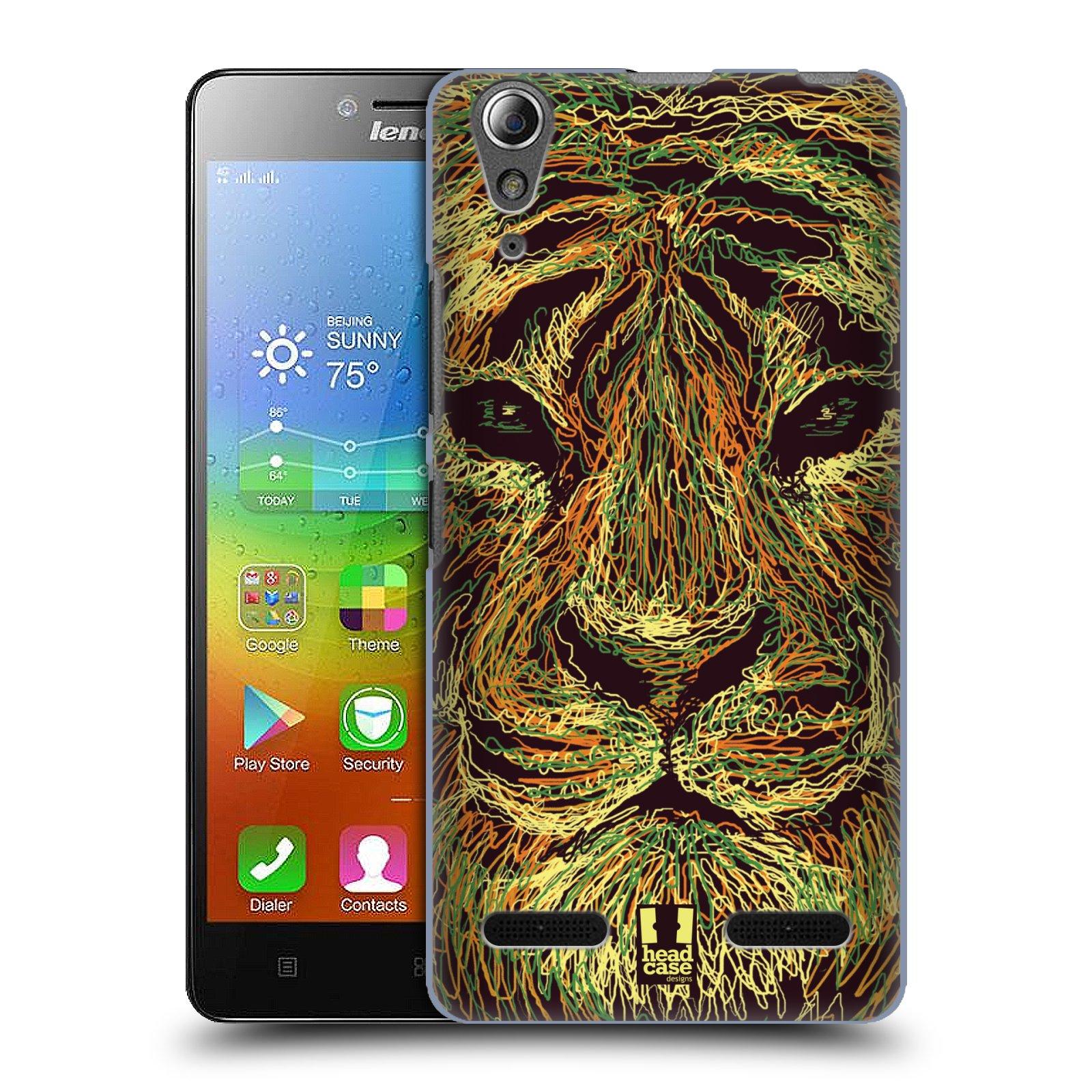 HEAD CASE pevný plastový obal na mobil LENOVO A6000 / A6000 PLUS vzor zvíře čmáranice tygr