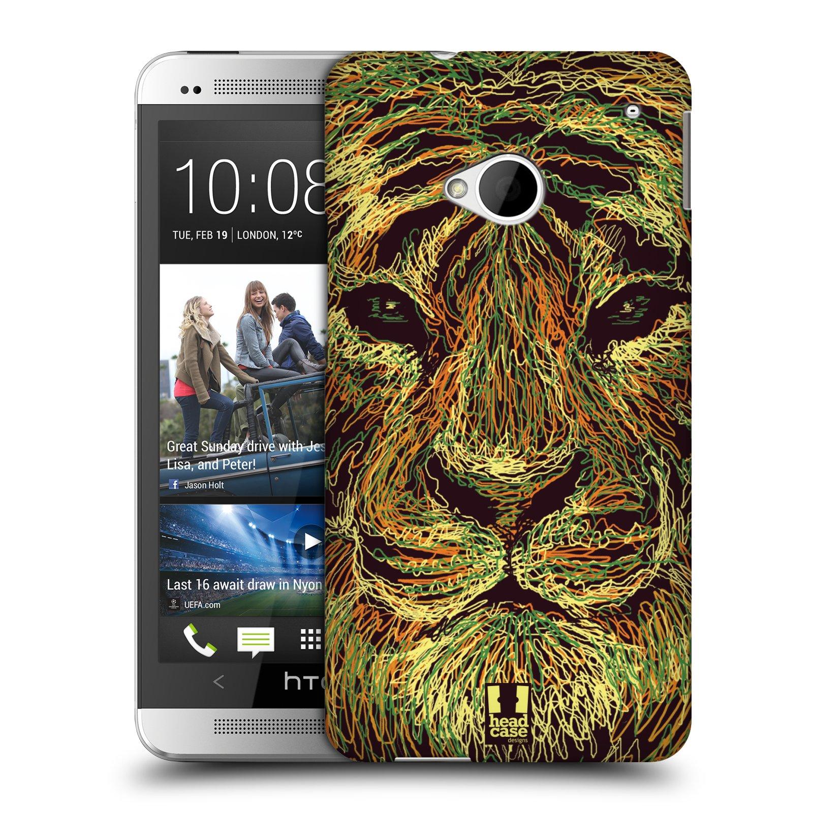 HEAD CASE plastový obal na mobil HTC One (M7) vzor zvíře čmáranice tygr