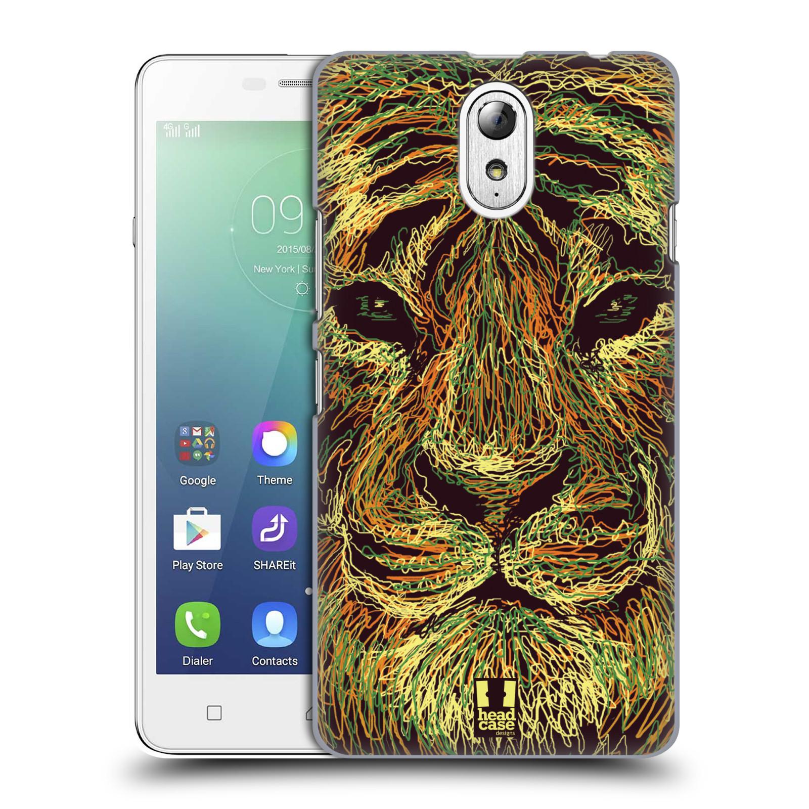 HEAD CASE pevný plastový obal na mobil LENOVO VIBE P1m / LENOVO VIBE p1m DUAL SIM vzor zvíře čmáranice tygr