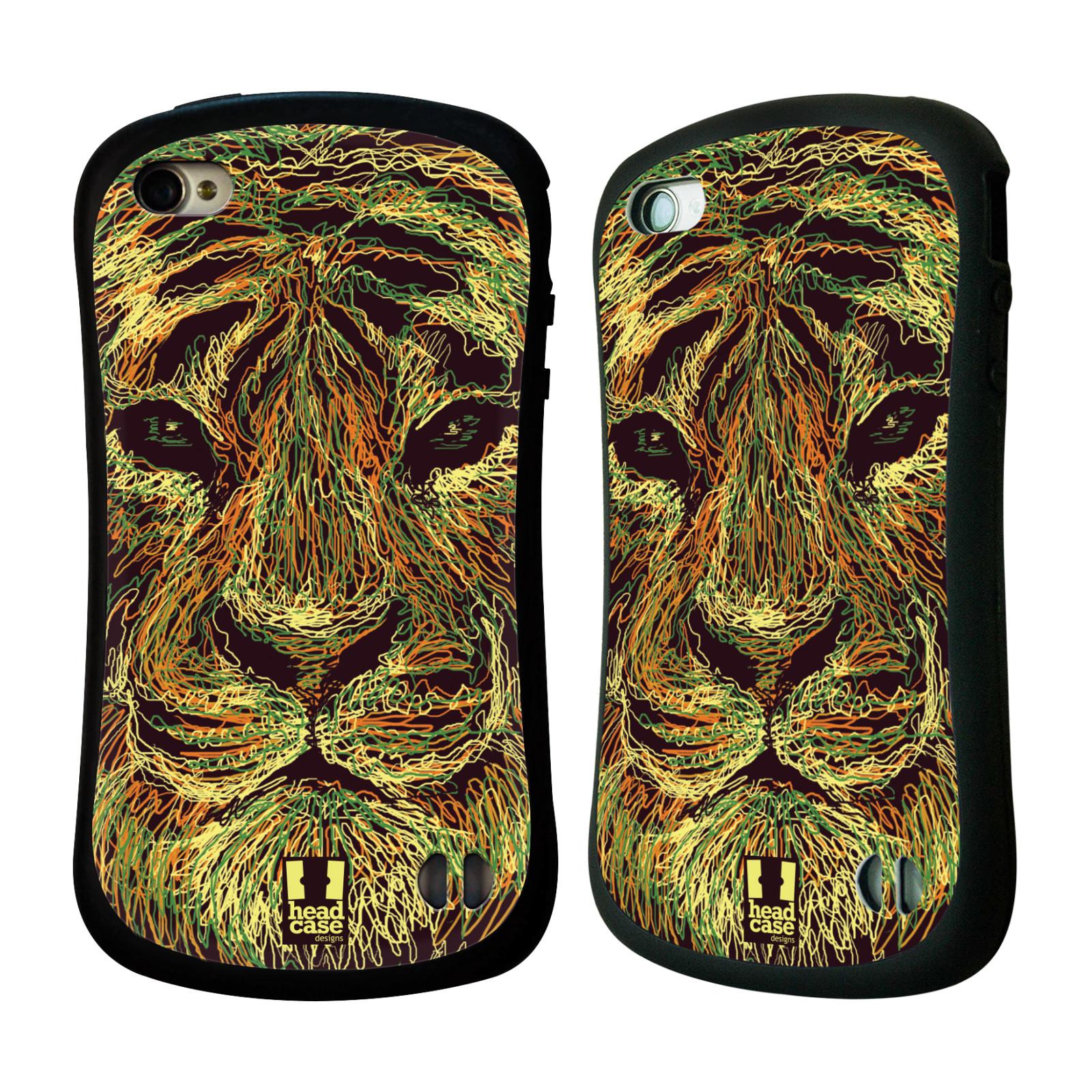 HEAD CASE silikon/plast odolný obal na mobil Apple Iphone 4/4S vzor zvíře čmáranice tygr