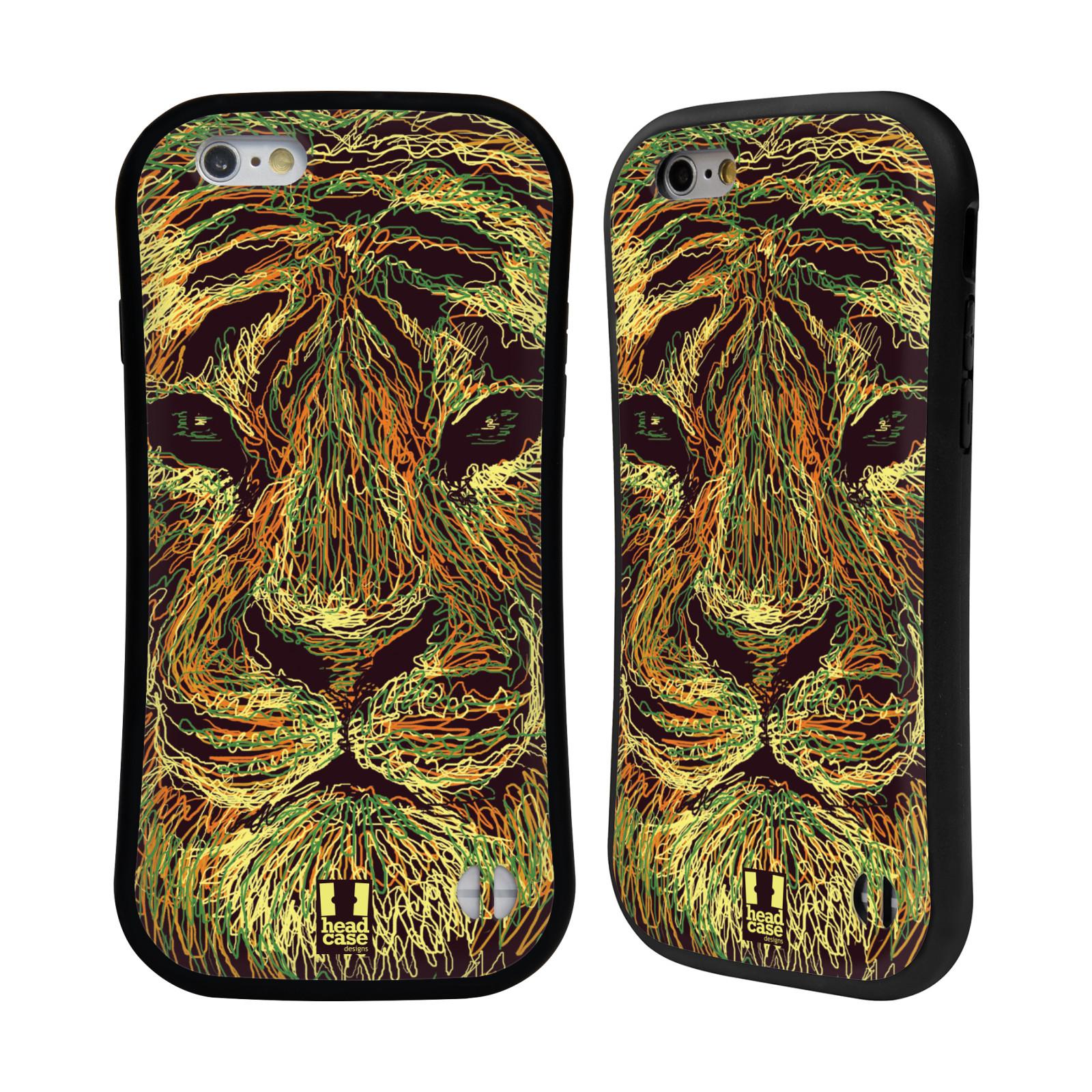 HEAD CASE silikon/plast odolný obal na mobil Apple Iphone 6/6S vzor zvíře čmáranice tygr
