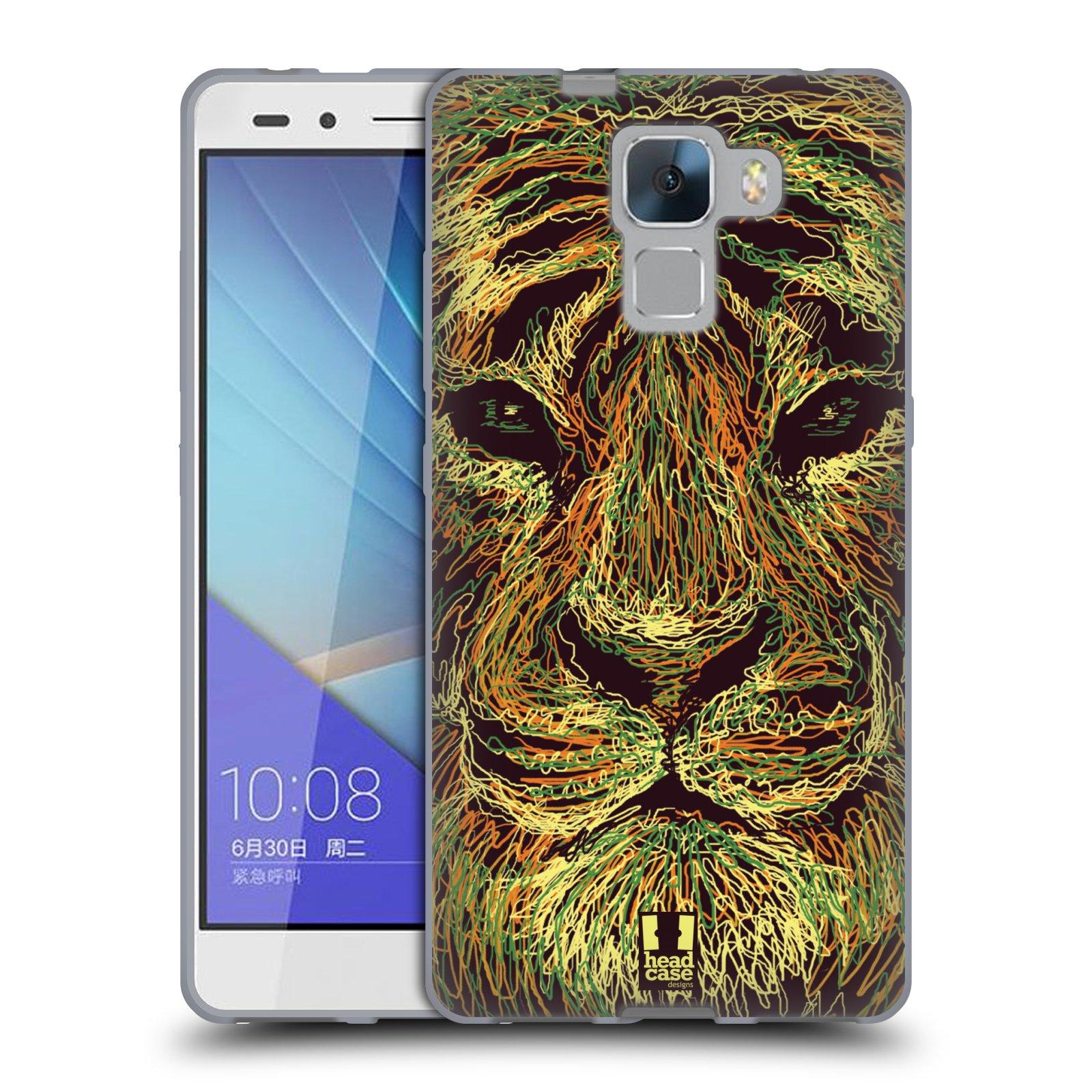 HEAD CASE silikonový obal na mobil HUAWEI HONOR 7 vzor zvíře čmáranice tygr