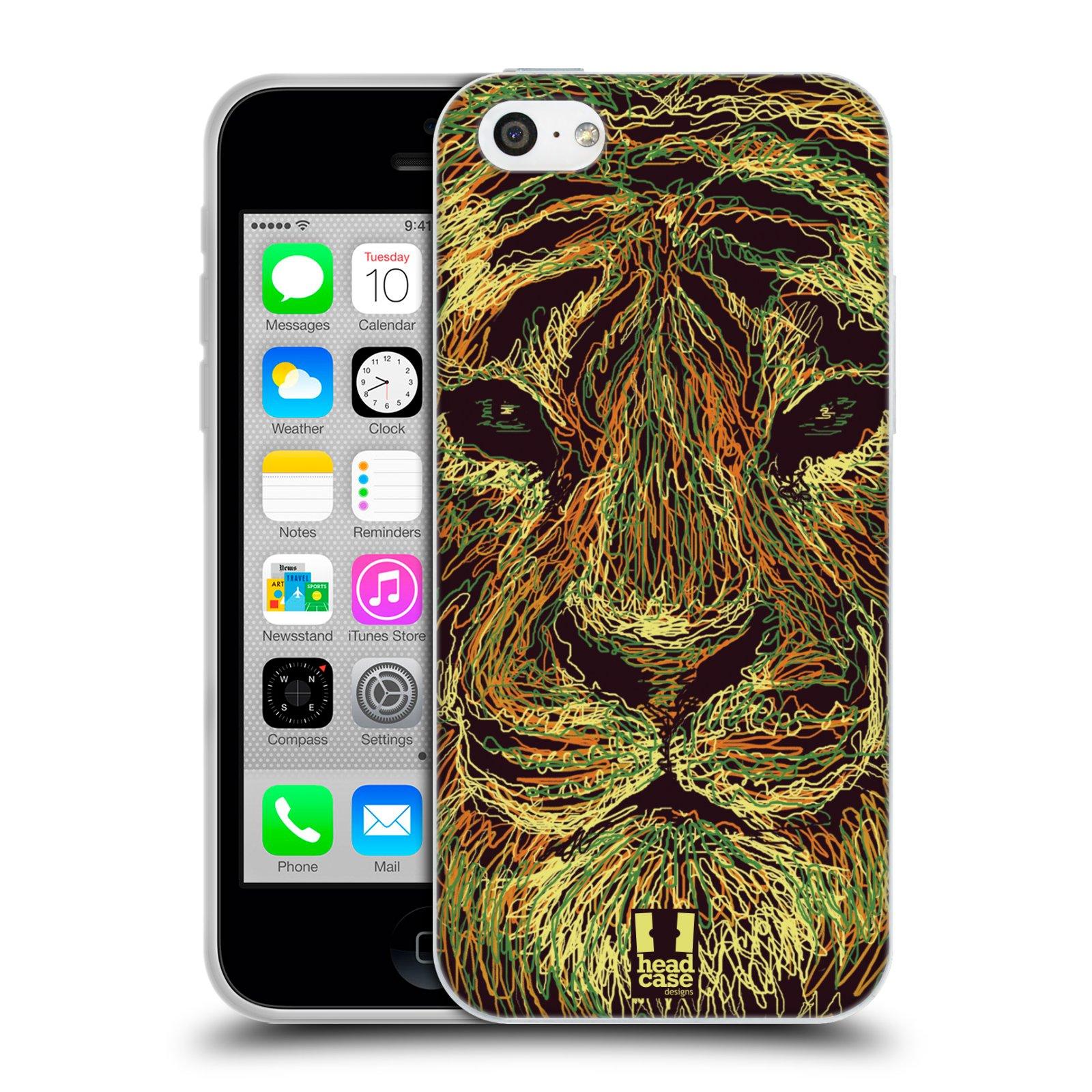 HEAD CASE silikonový obal na mobil Apple Iphone 5C vzor zvíře čmáranice tygr