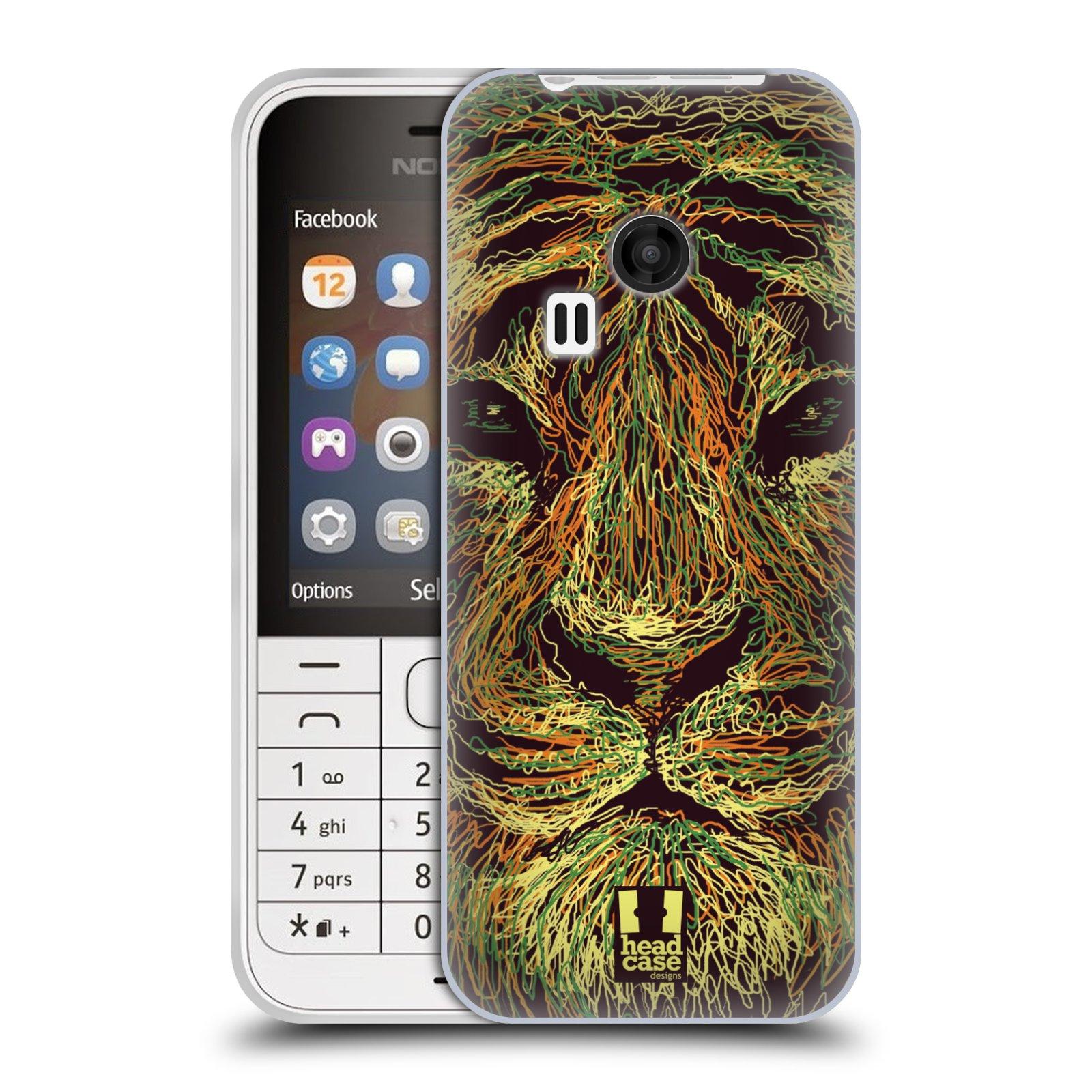HEAD CASE silikonový obal na mobil NOKIA 220 / NOKIA 220 DUAL SIM vzor zvíře čmáranice tygr