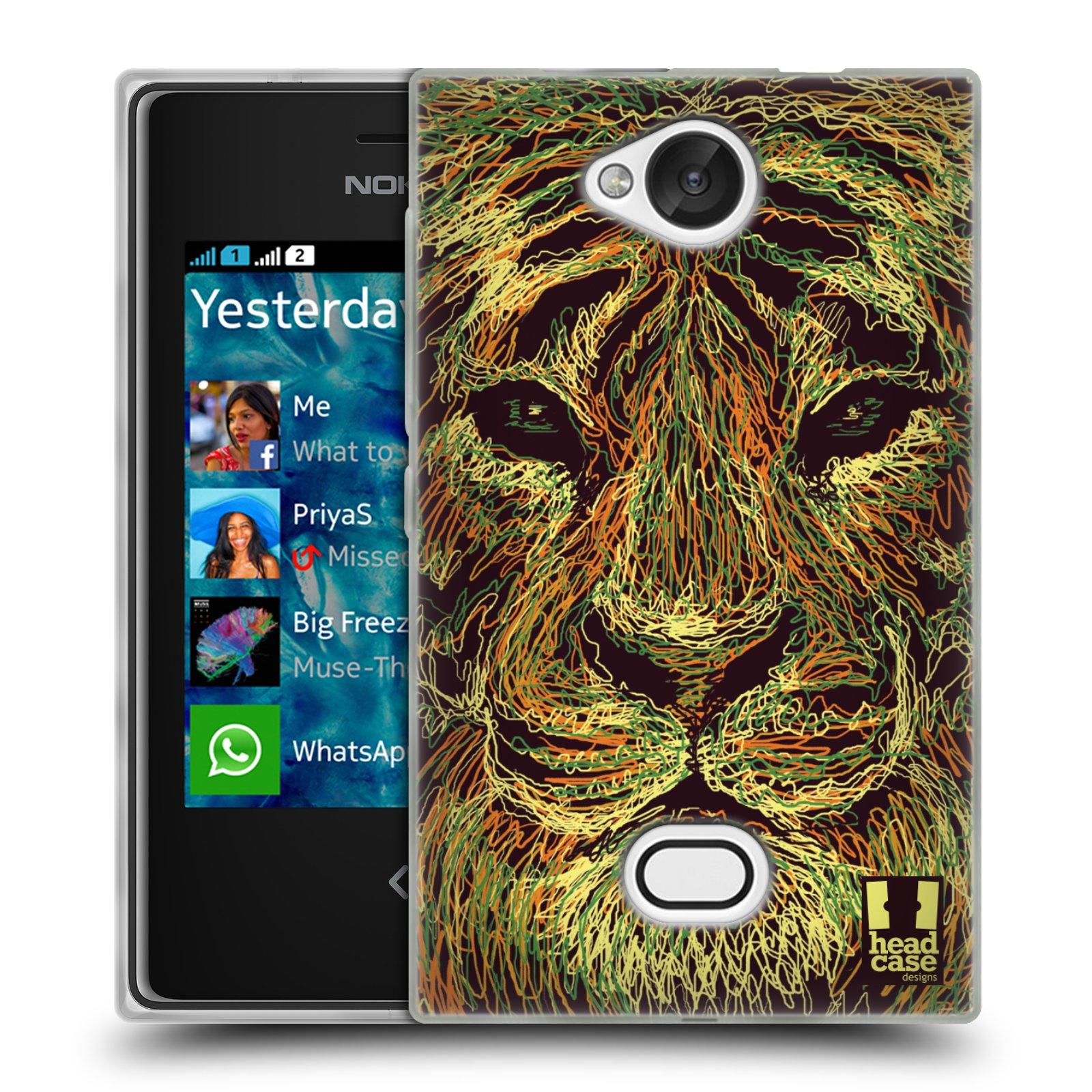HEAD CASE silikonový obal na mobil NOKIA Asha 503 vzor zvíře čmáranice tygr