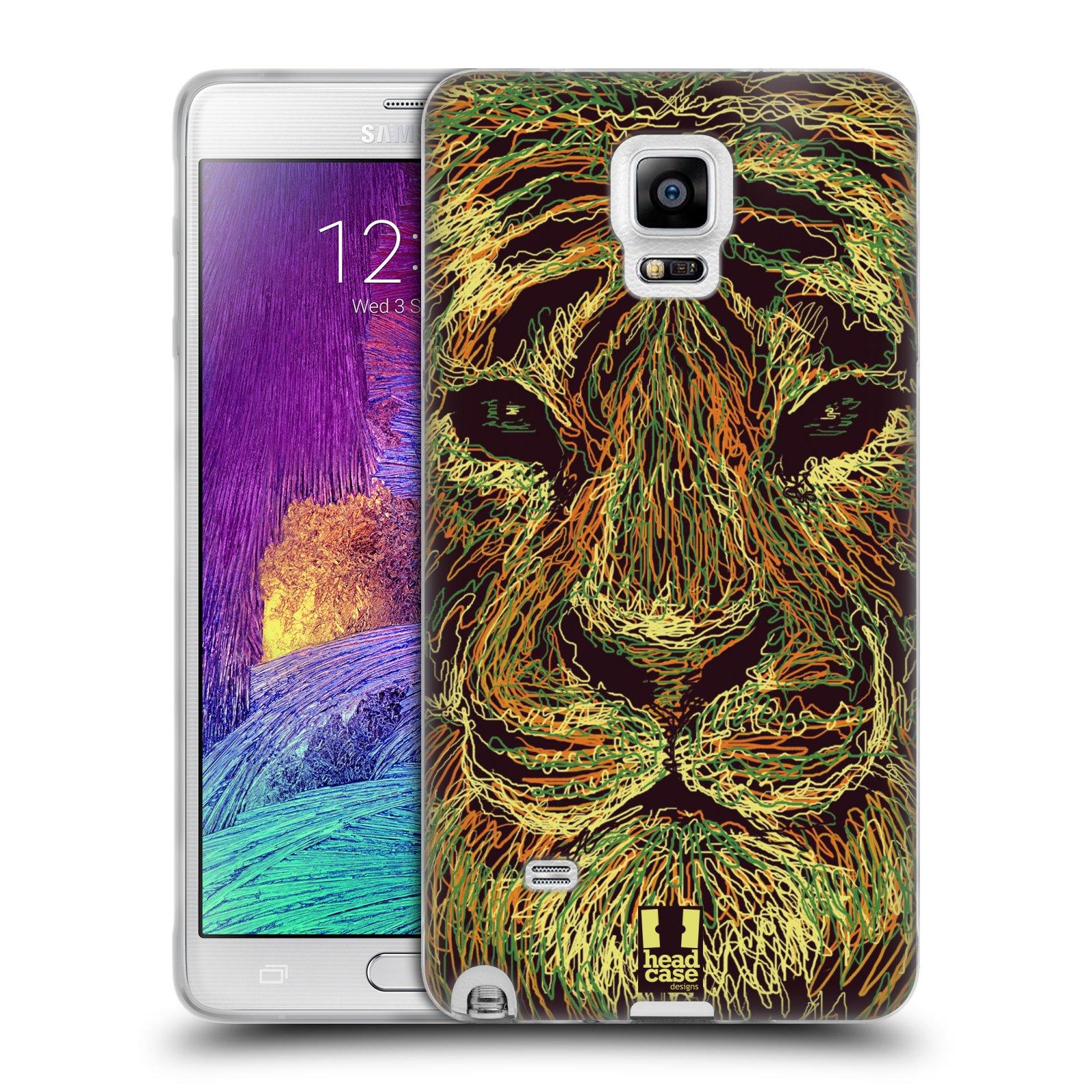 HEAD CASE silikonový obal na mobil Samsung Galaxy Note 4 (N910) vzor zvíře čmáranice tygr