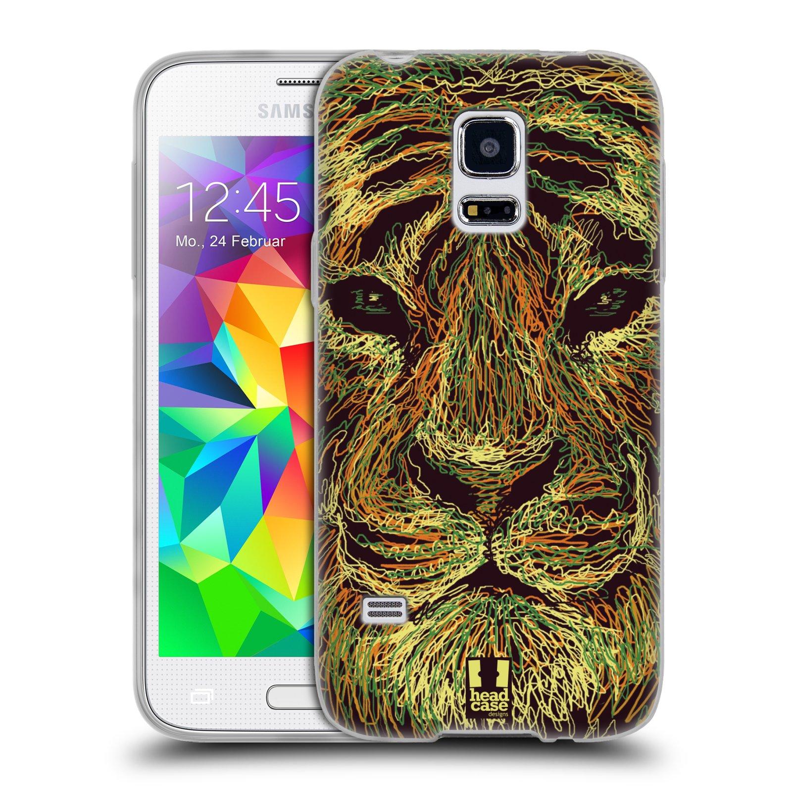 HEAD CASE silikonový obal na mobil Samsung Galaxy S5 MINI vzor zvíře čmáranice tygr