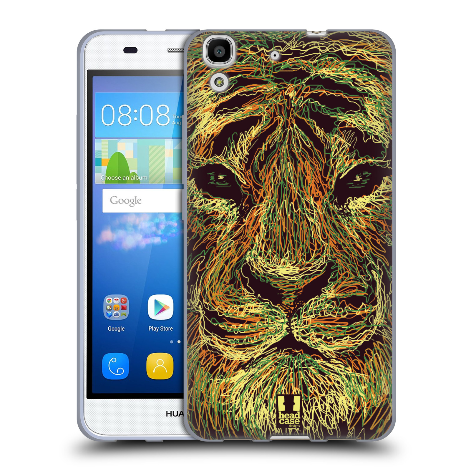 HEAD CASE silikonový obal na mobil HUAWEI Y6 vzor zvíře čmáranice tygr