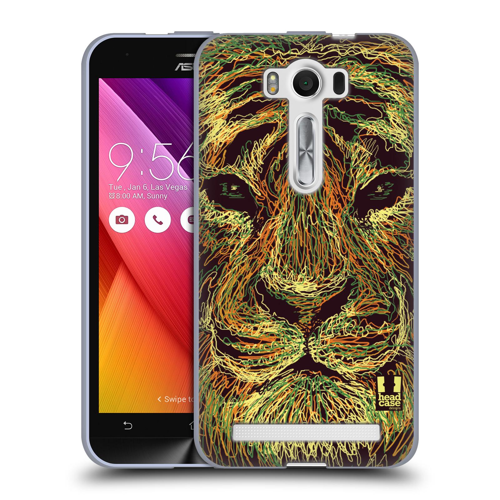 "HEAD CASE silikonový obal na mobil Asus Zenfone 2 LASER (ZE500KL s 5"" displejem) vzor zvíře čmáranice tygr"