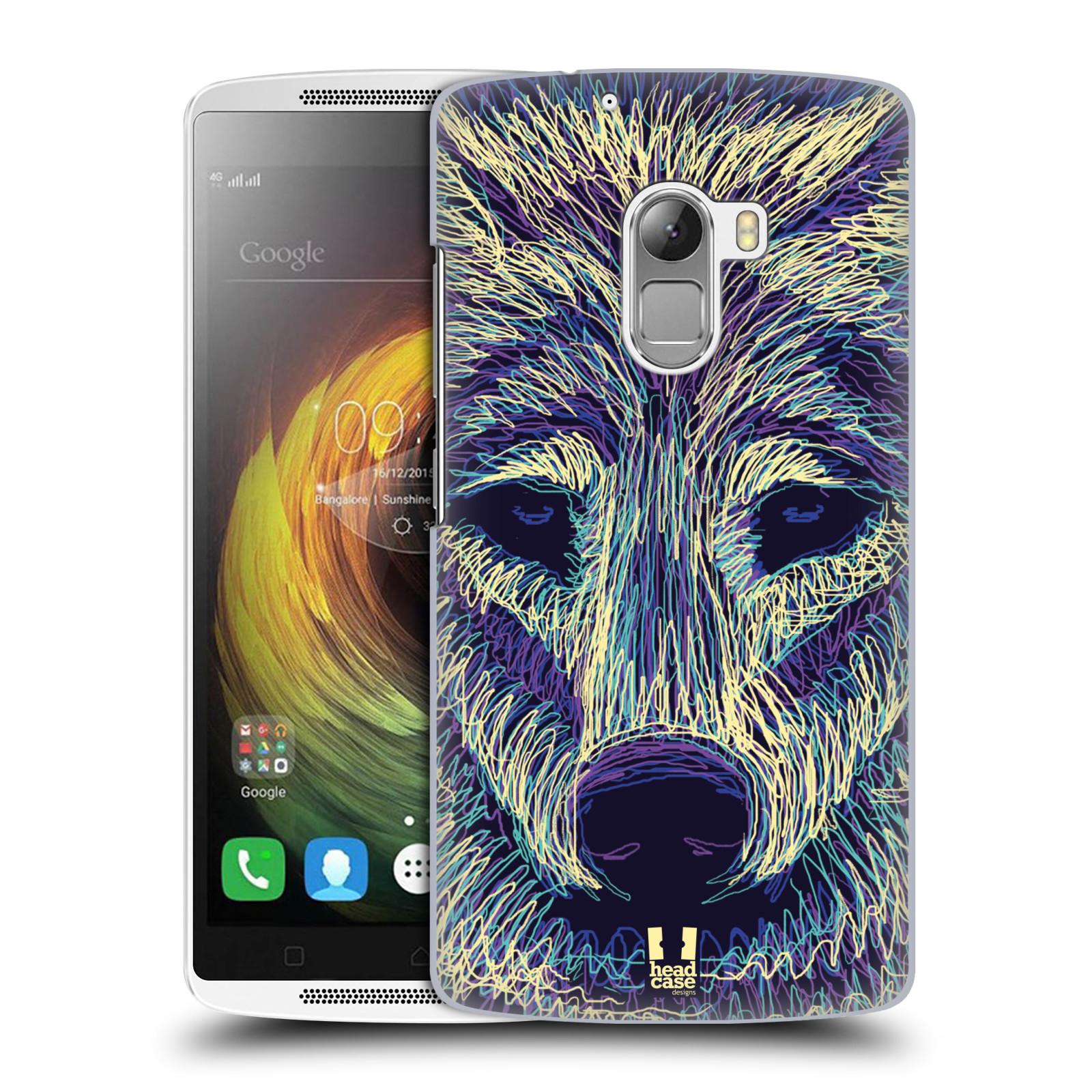 HEAD CASE pevný plastový obal na mobil LENOVO A7010 / A7010 DUAL / K4 Note / Vibe X3 lite vzor zvíře čmáranice vlk