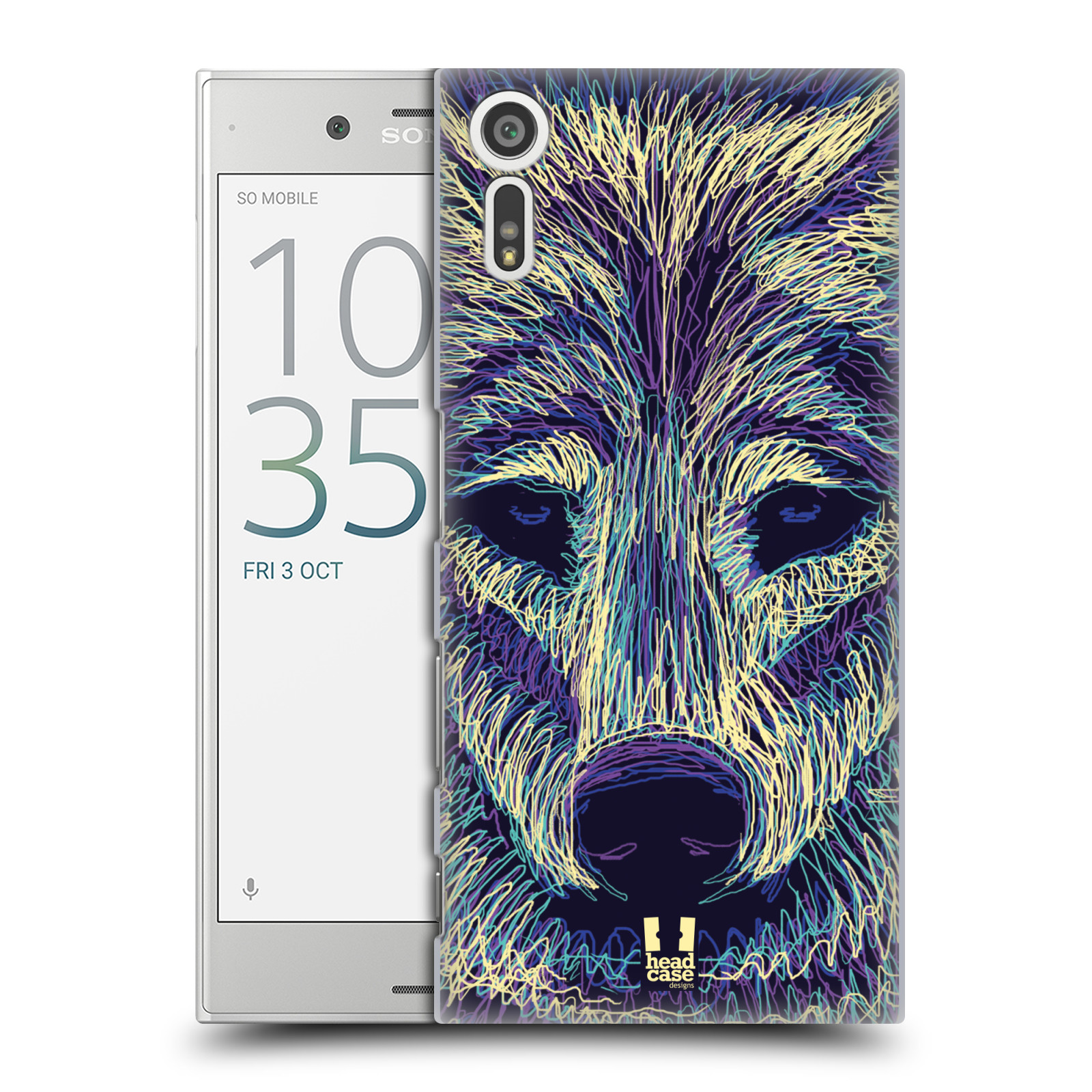 HEAD CASE plastový obal na mobil Sony Xperia XZ vzor zvíře čmáranice vlk