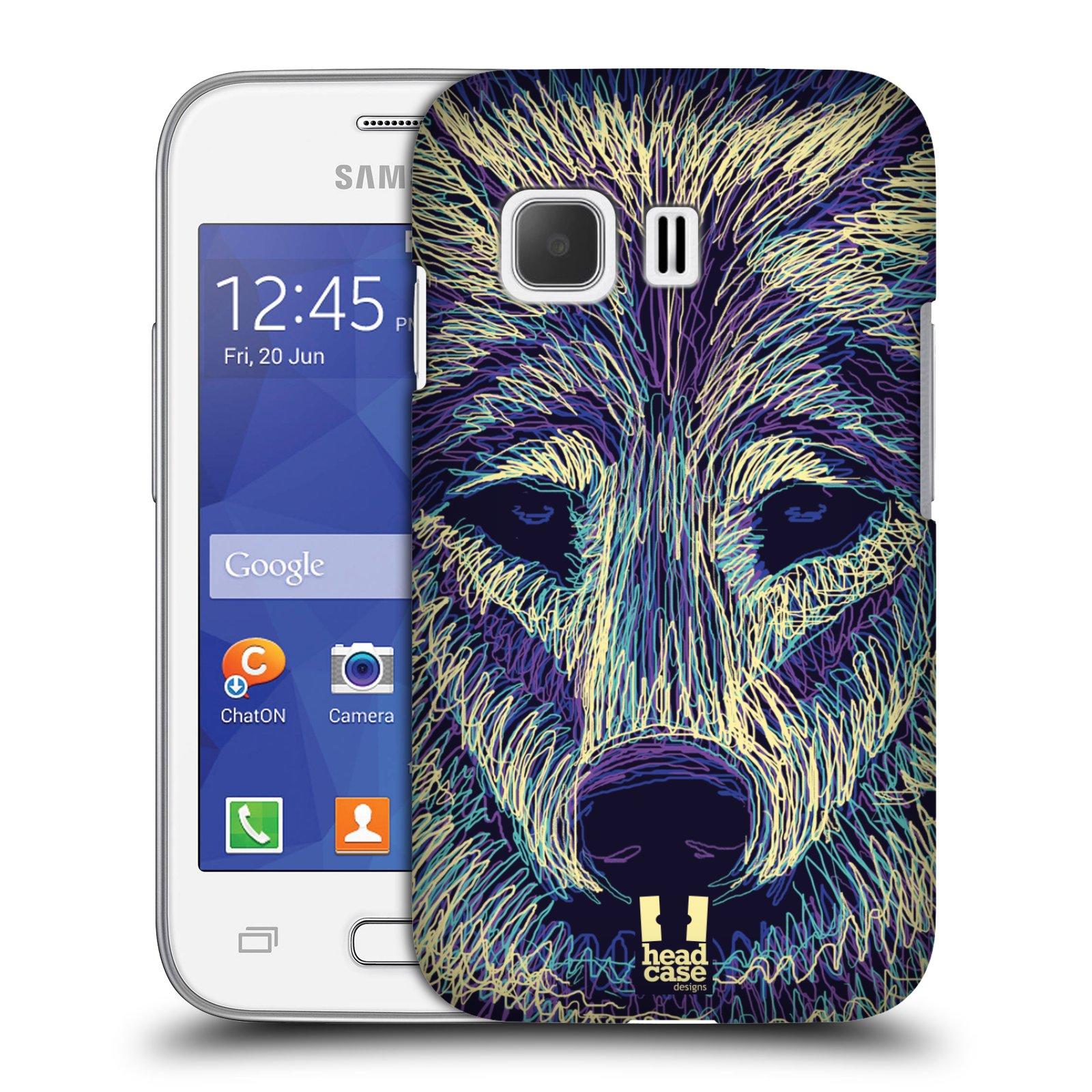 HEAD CASE plastový obal na mobil SAMSUNG Galaxy Young 2 (G130) vzor zvíře čmáranice vlk