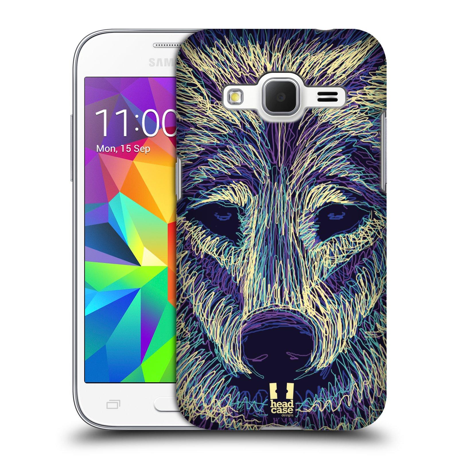 HEAD CASE plastový obal na mobil SAMSUNG GALAXY Core Prime (Core Prime VE) vzor zvíře čmáranice vlk