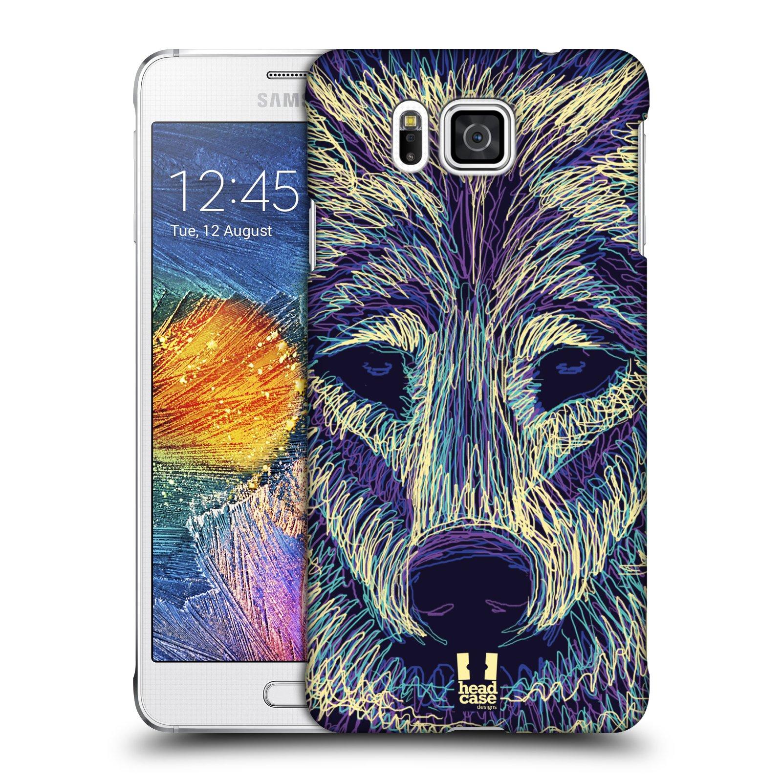 HEAD CASE plastový obal na mobil SAMSUNG Galaxy Alpha (G850) vzor zvíře čmáranice vlk