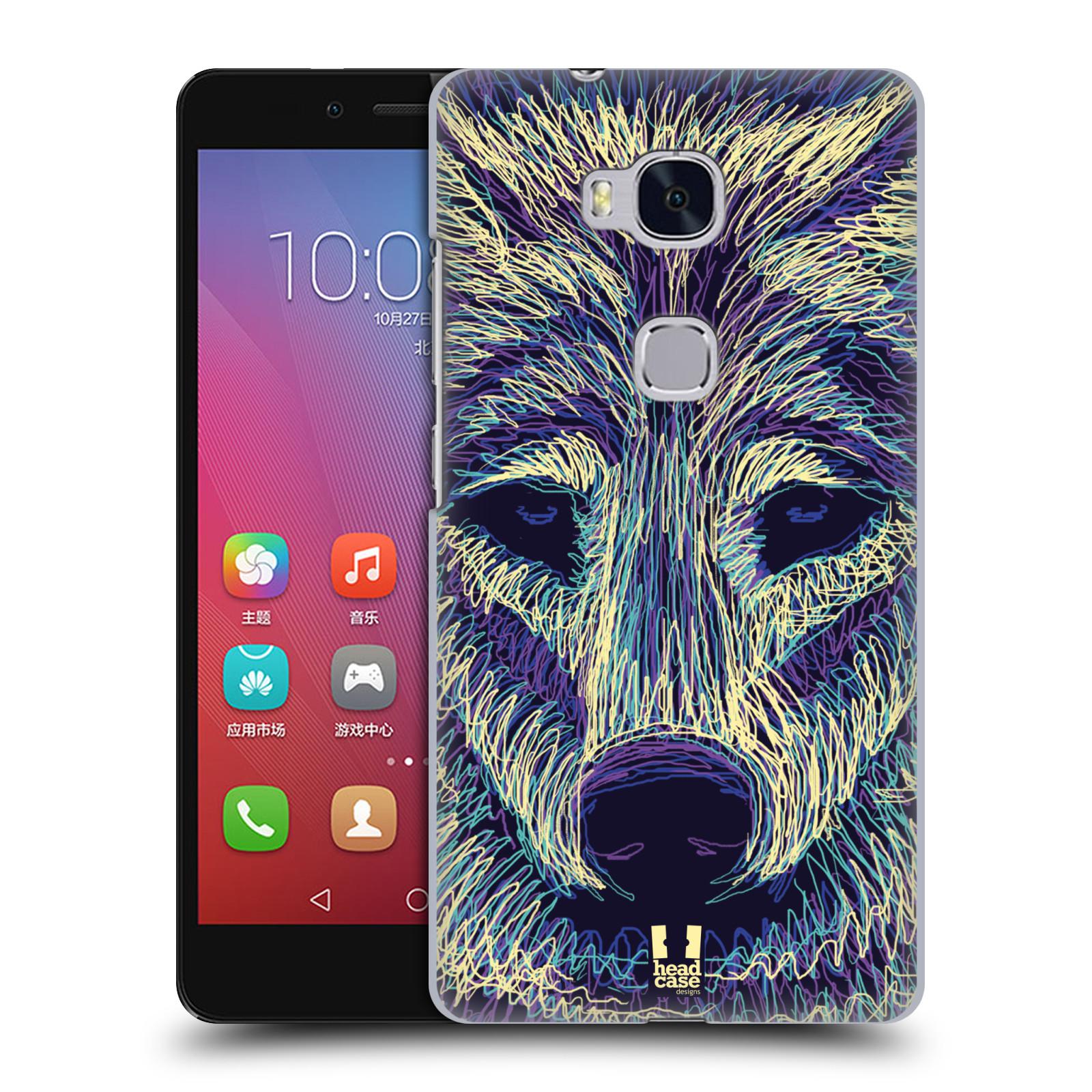 HEAD CASE pevný plastový obal na mobil HUAWEI HONOR 5X vzor zvíře čmáranice vlk