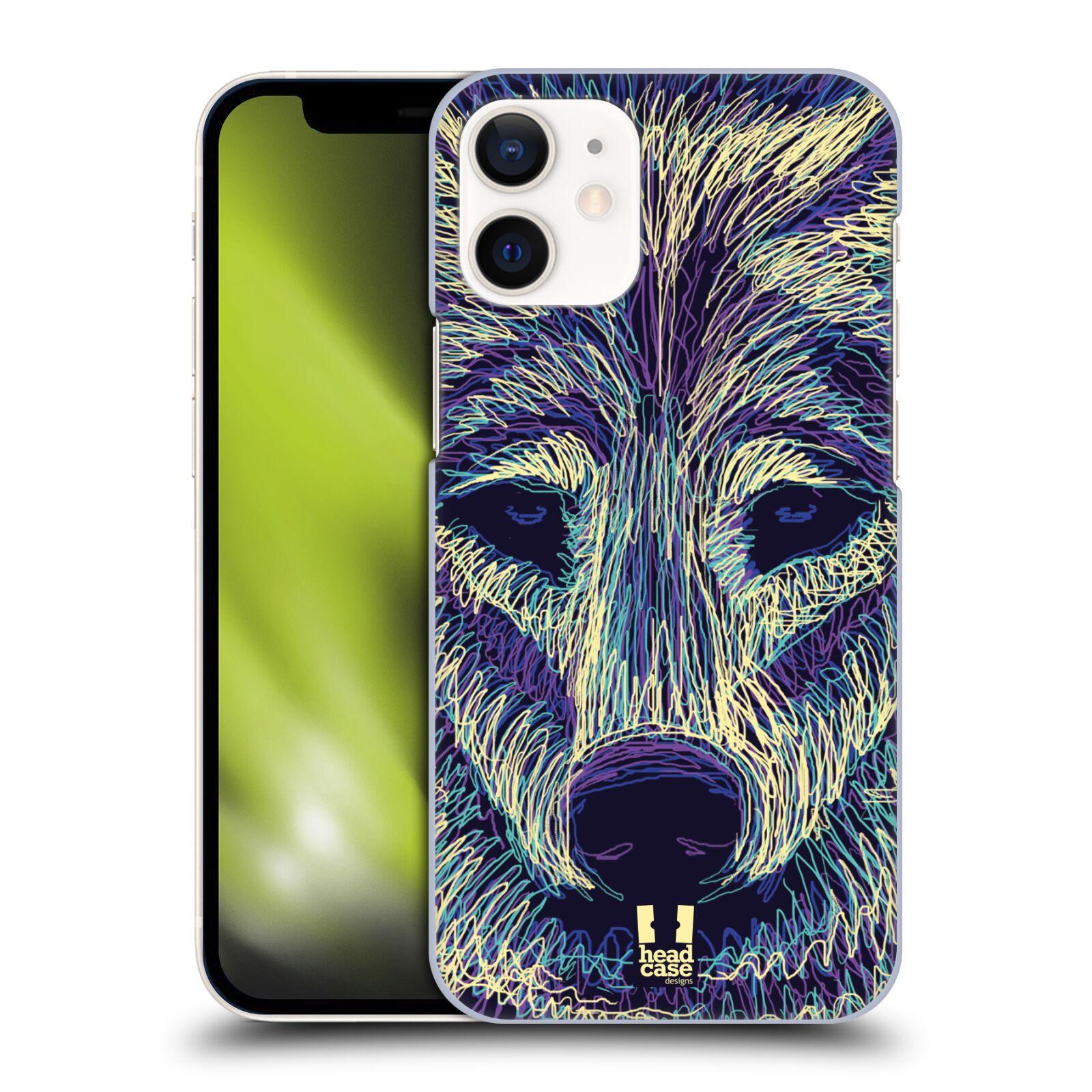 Plastový obal na mobil Apple Iphone 12 MINI vzor zvíře čmáranice vlk