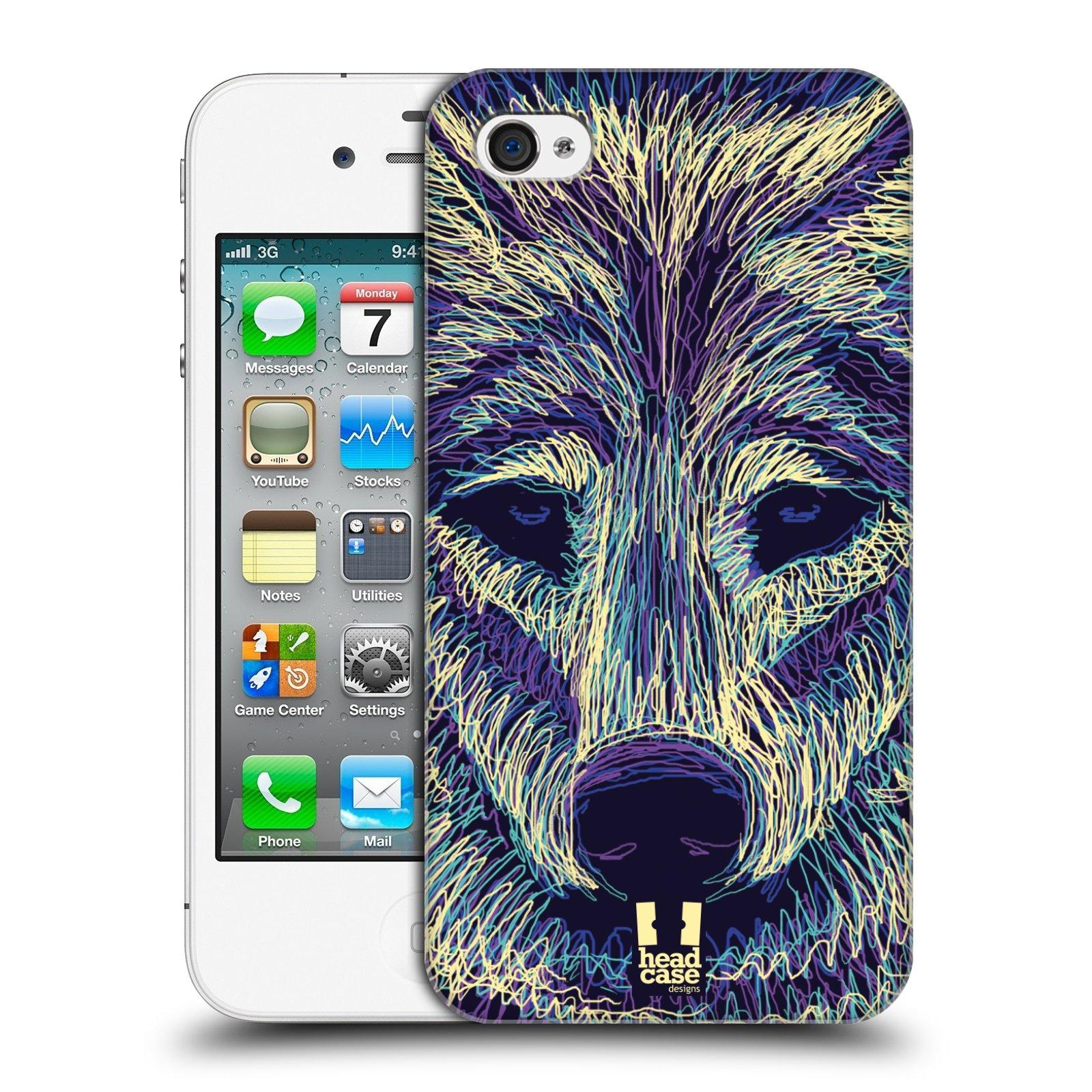 HEAD CASE plastový obal na mobil Apple Iphone 4/4S vzor zvíře čmáranice vlk